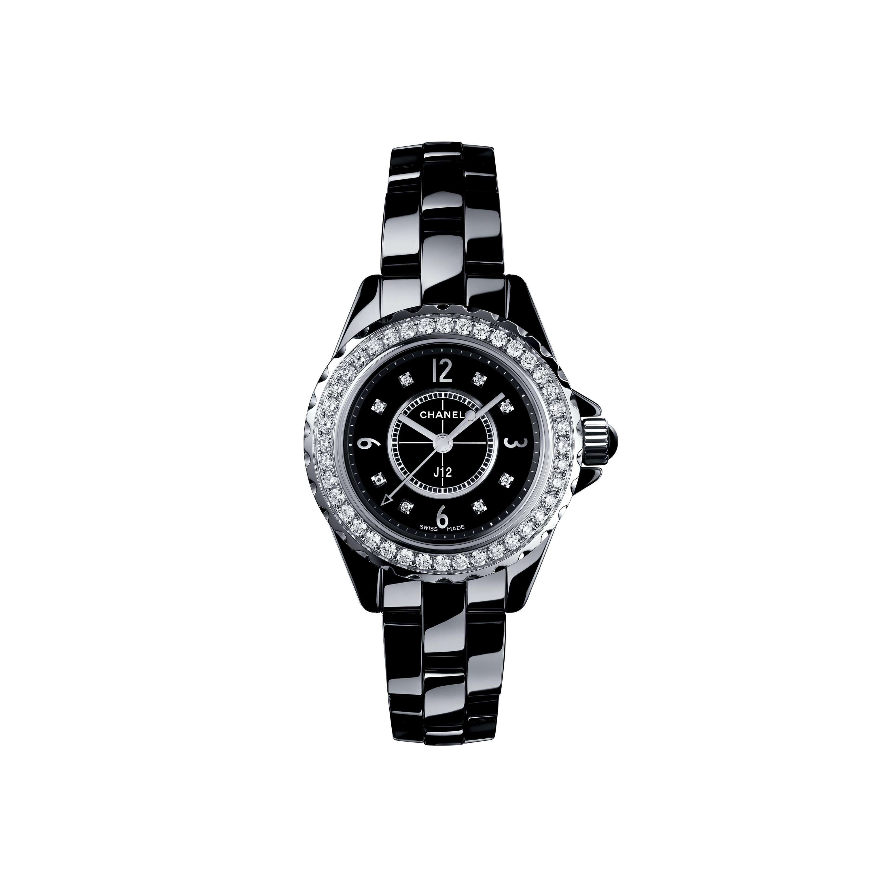J12 Watch, 29 mm - Black highly resistant ceramic and steel, brilliant-cut diamond bezel and indicators - CHANEL - Default view - see standard sized version