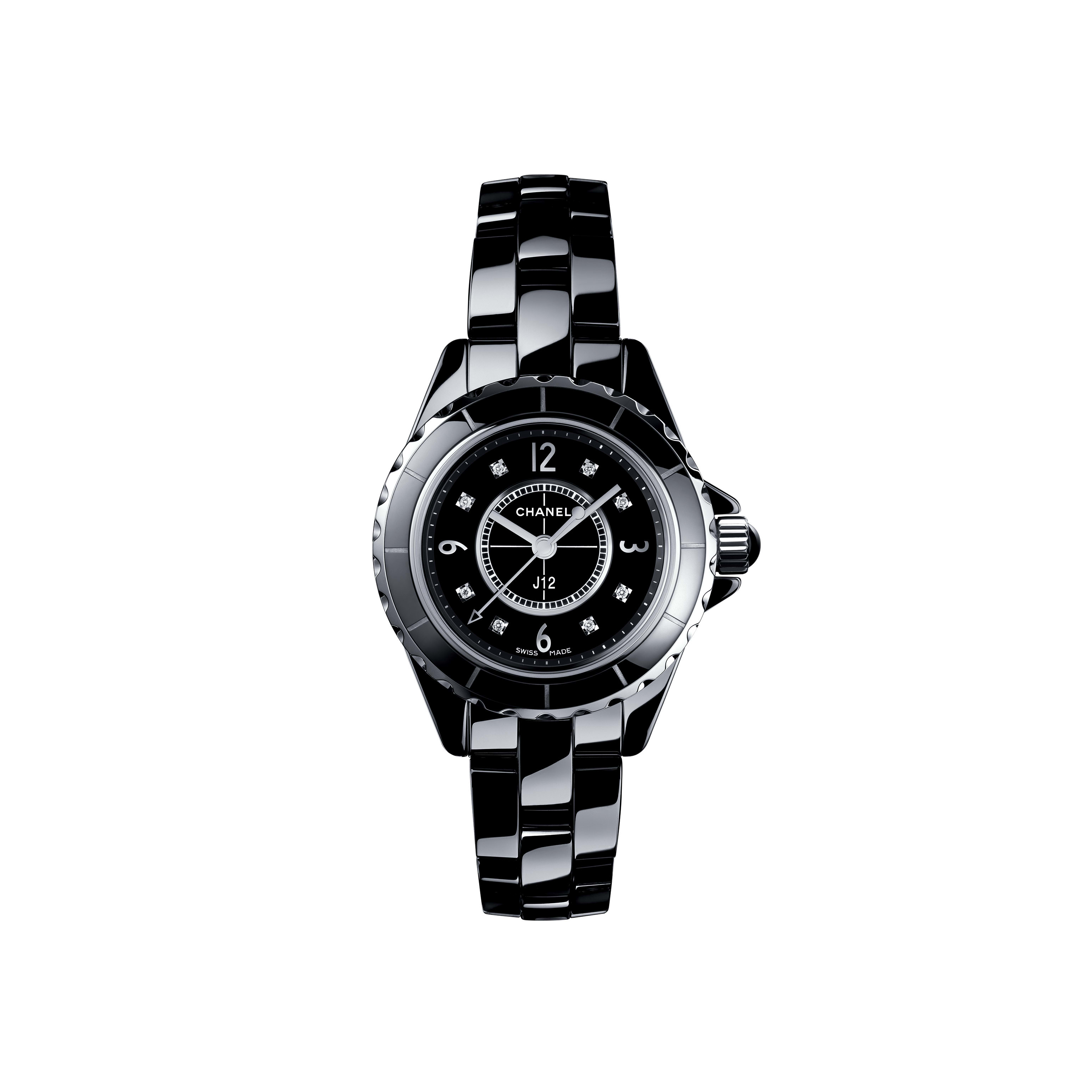 J12 Watch, 29 mm - Black highly resistant ceramic and steel, diamond indicators - CHANEL - Default view - see standard sized version