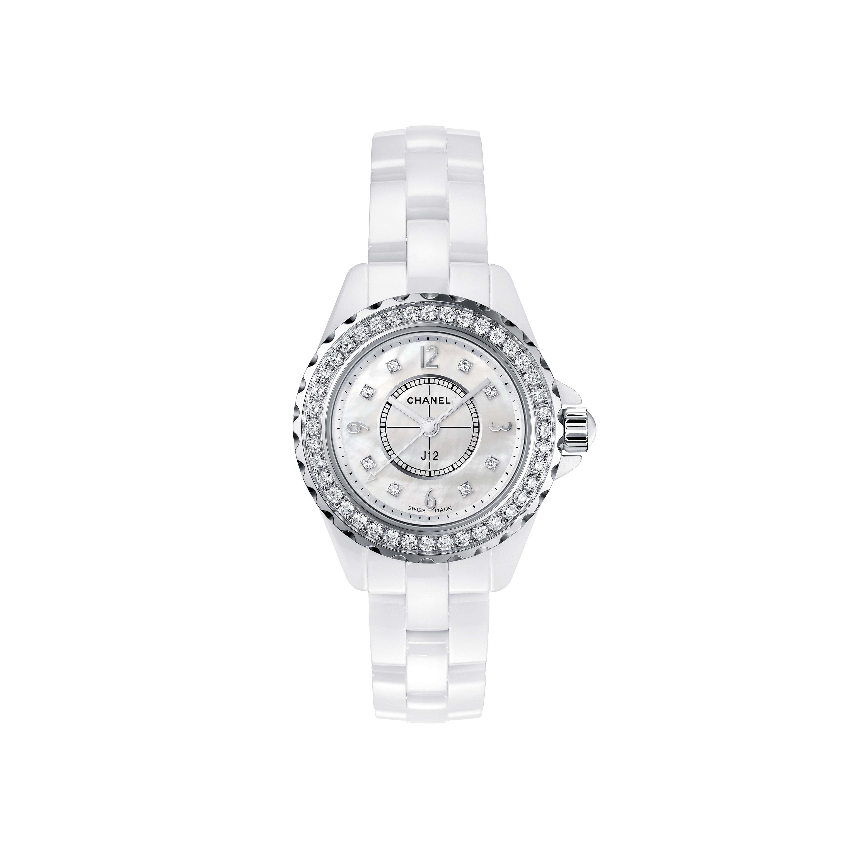นาฬิกา J12 ขนาด 29 มม. - เซรามิกความทนทานสูงสีขาวและสตีล ประดับเพชรเจียระไนแบบเหลี่ยมเกสรที่ขอบตัวเรือนและส่วนสำหรับแสดงเวลา หน้าปัดมาเธอร์ออฟเพิร์ลสีขาว - CHANEL - มุมมองปัจจุบัน - ดูเวอร์ชันขนาดมาตรฐาน