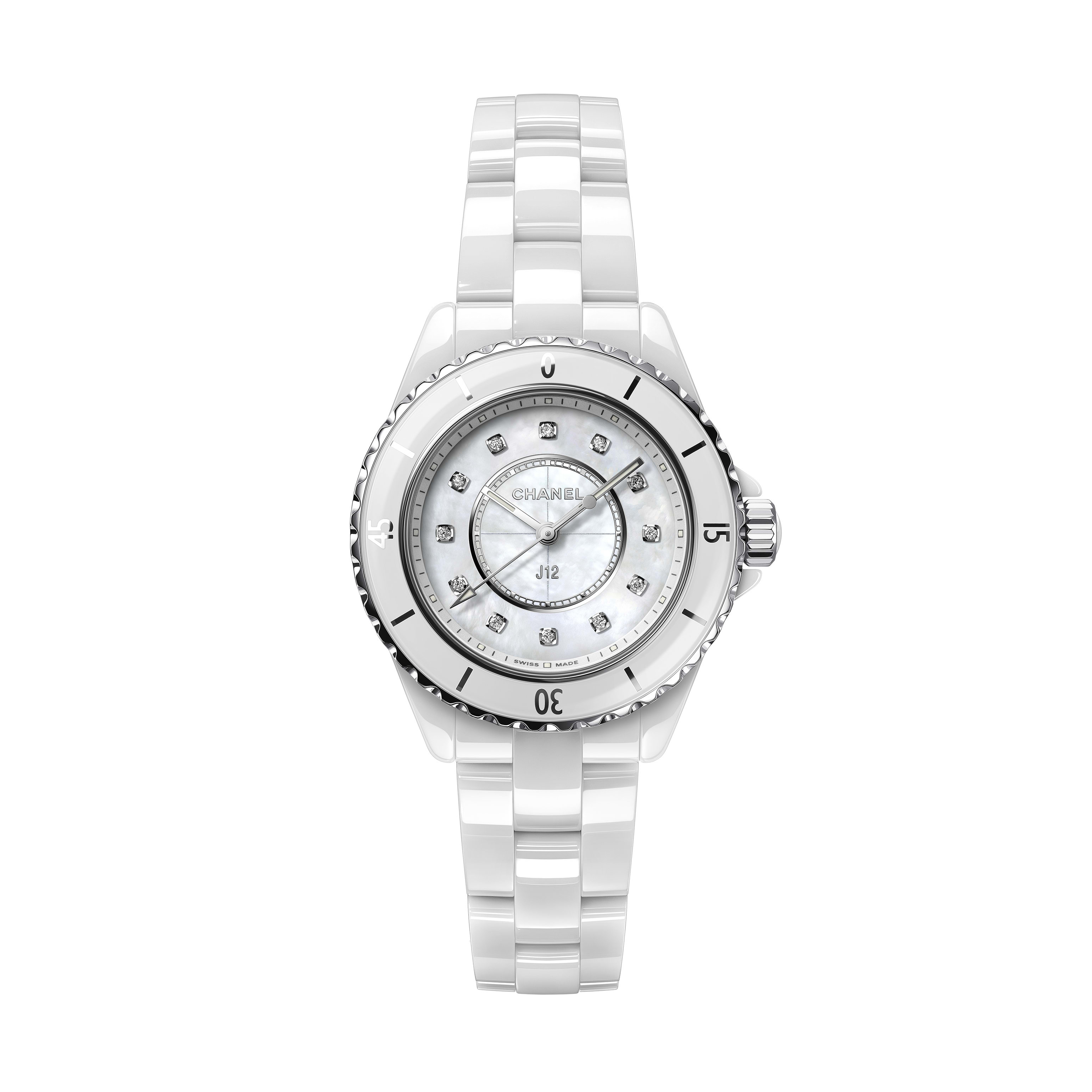 J12 Watch, 33 mm - White highly resistant ceramic, mother-of-pearl, steel and diamonds - CHANEL - Default view - see standard sized version