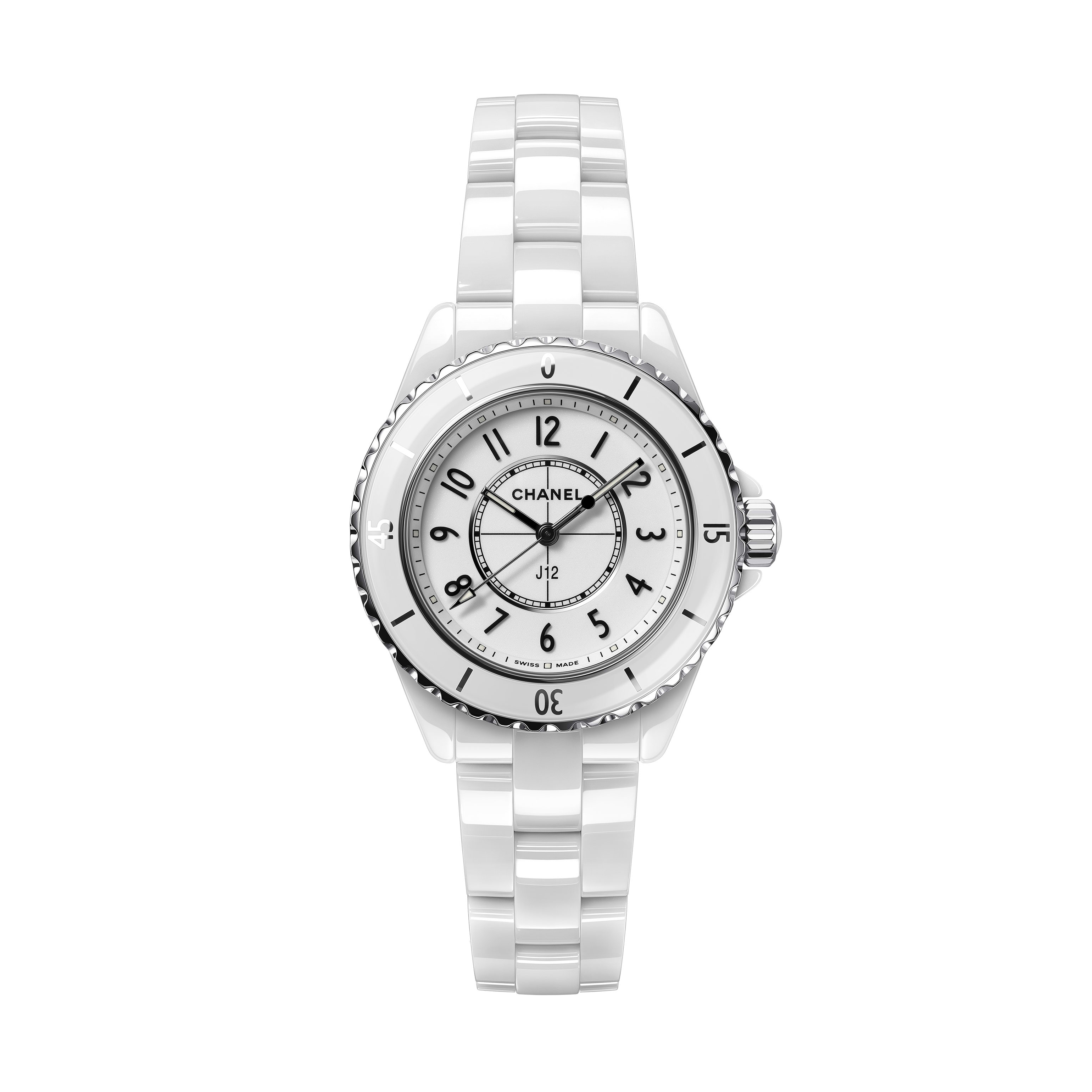 J12 Watch, 33 mm - White highly resistant ceramic and steel - CHANEL - Default view - see standard sized version