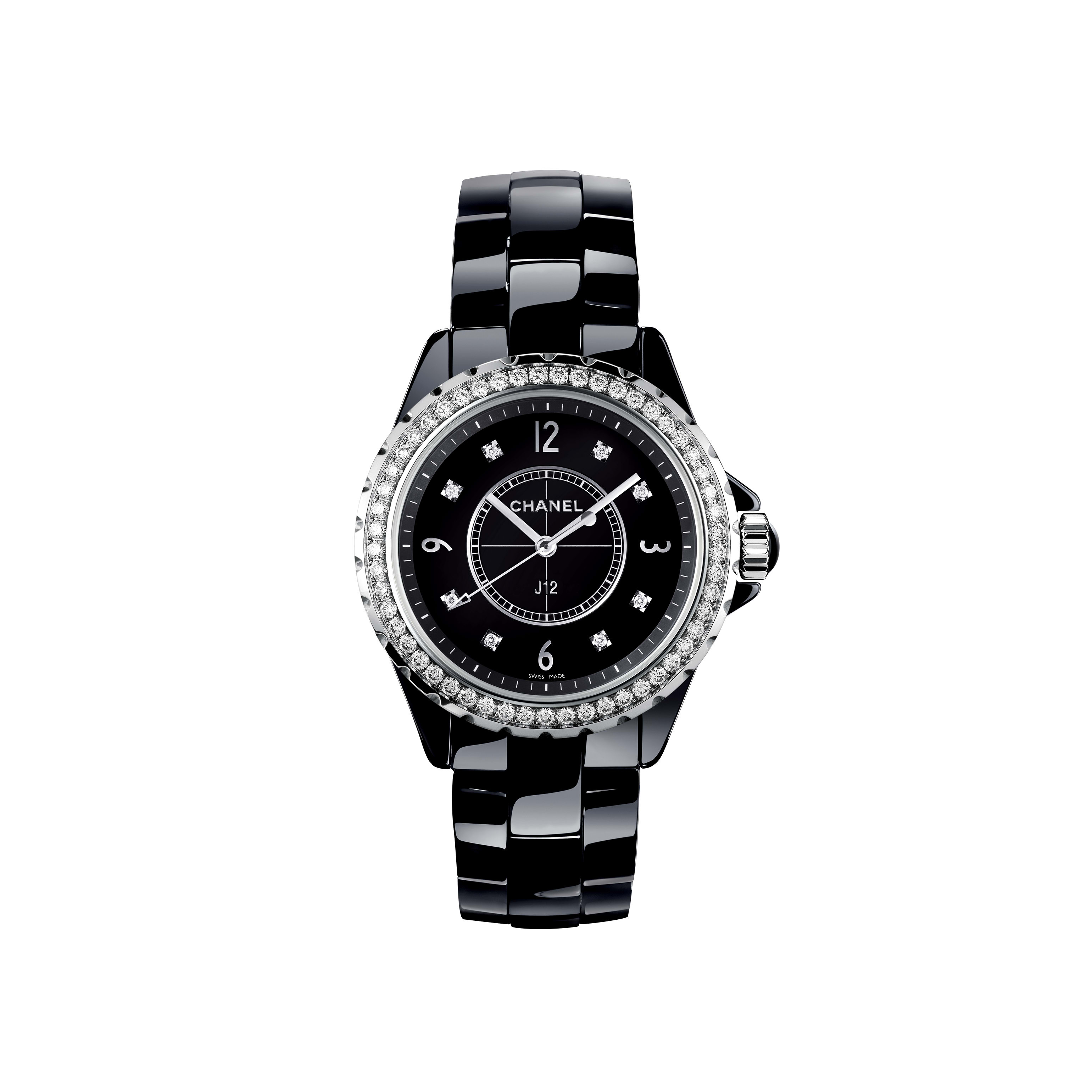 J12 Watch - Black highly resistant ceramic and steel, brilliant-cut diamond bezel and indicators - CHANEL - Default view - see standard sized version