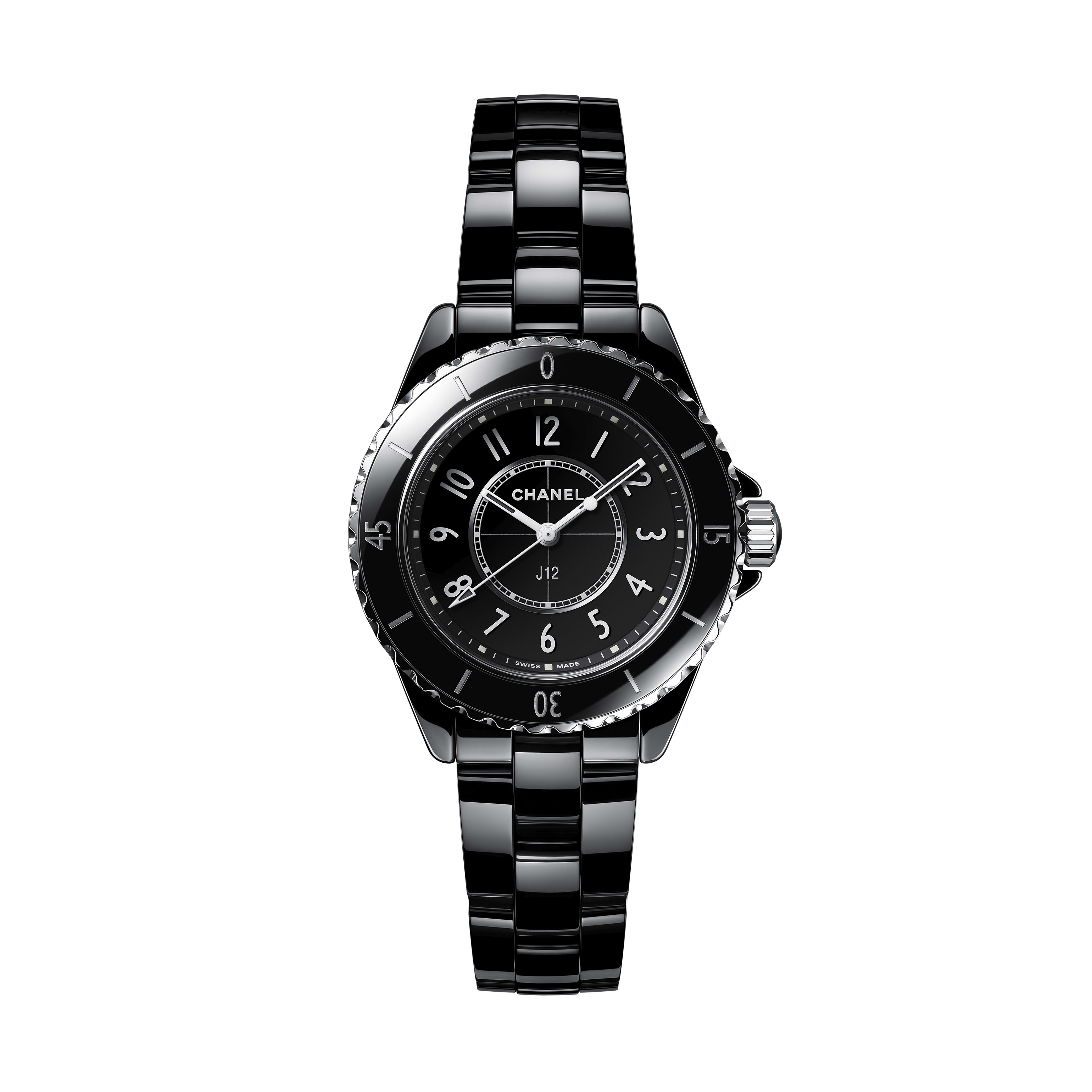 J12 Watch - Black highly resistant ceramic and steel - CHANEL - Default view - see standard sized version