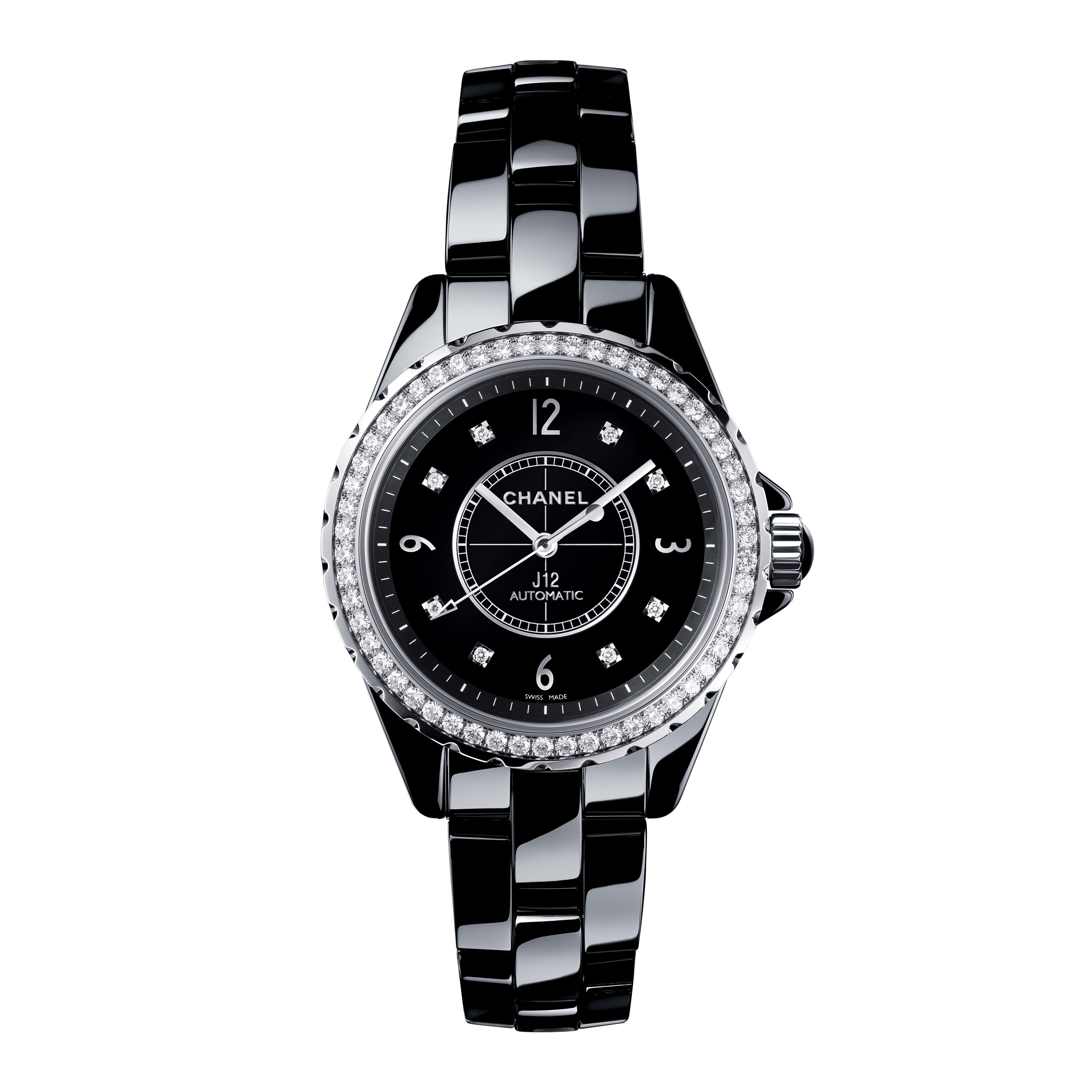 J12 - Black highly resistant ceramic and steel, brilliant-cut diamond bezel and indicators - CHANEL - Default view - see standard sized version
