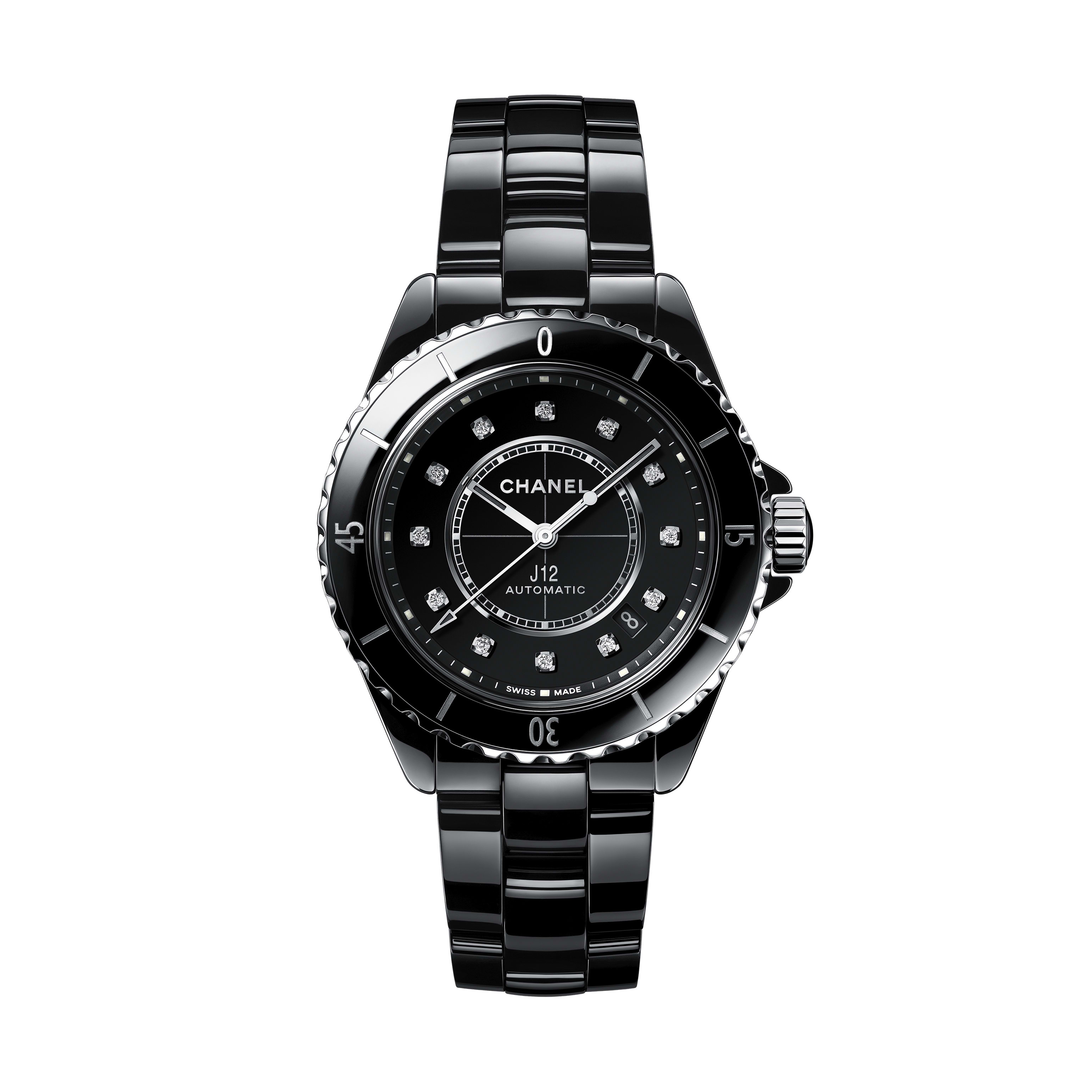 J12 Watch Calibre 12.1, 38 mm - Black highly resistant ceramic, steel and diamonds - CHANEL - Default view - see standard sized version