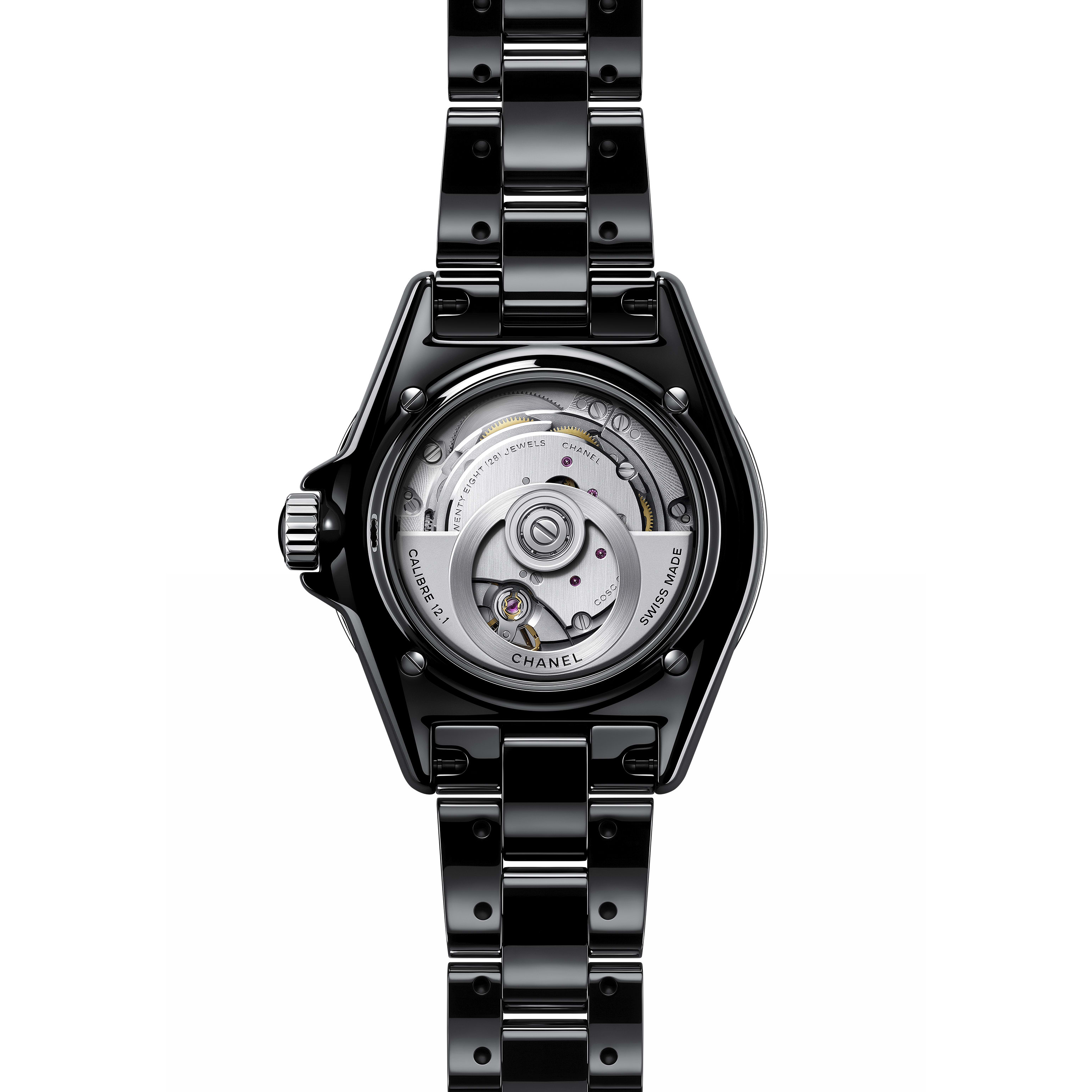 J12 Watch Calibre 12.1, 38 mm - Black highly resistant ceramic, steel and diamonds - CHANEL - Other view - see standard sized version
