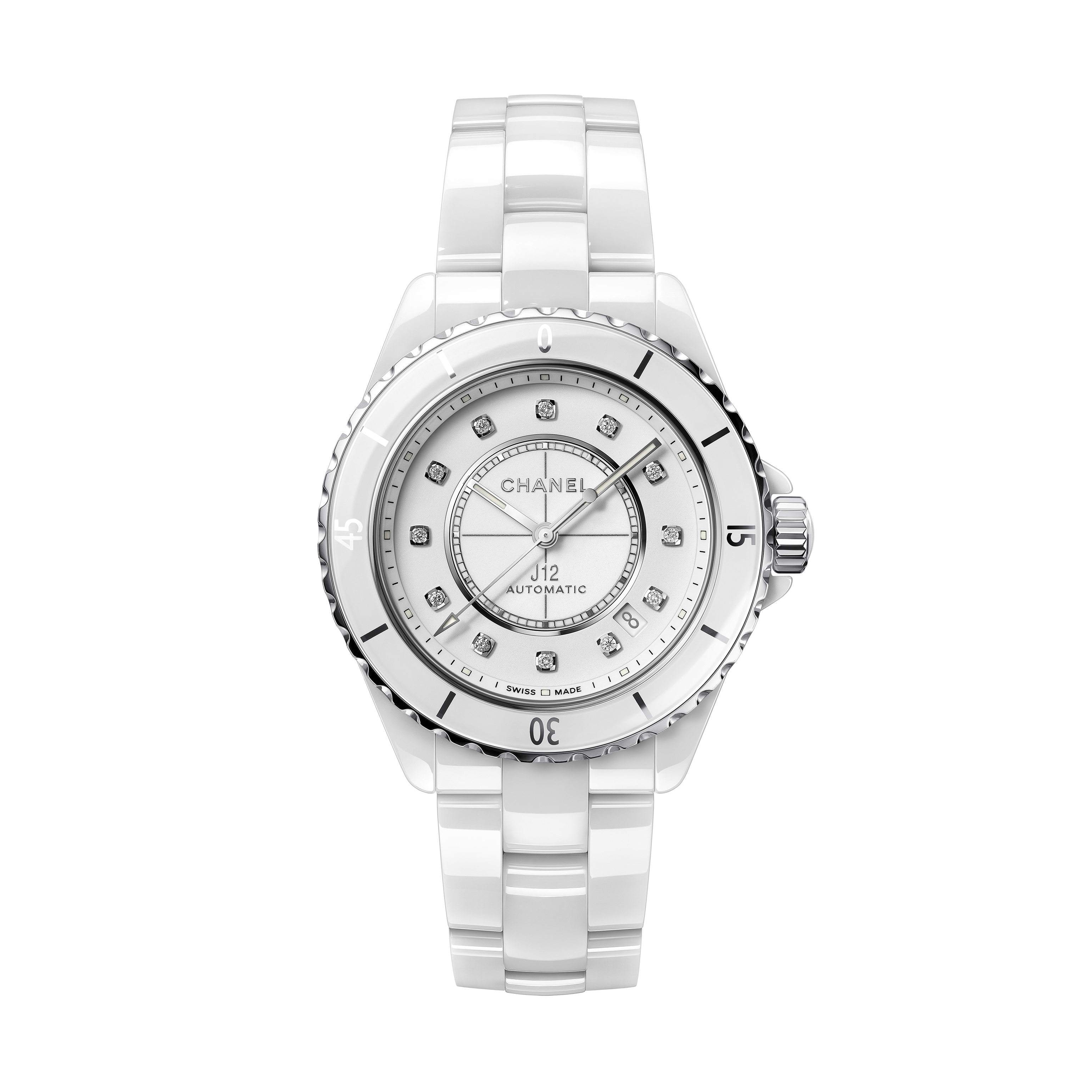 J12 Watch Calibre 12.1, 38 mm - White highly resistant ceramic, steel and diamonds - CHANEL - Default view - see standard sized version