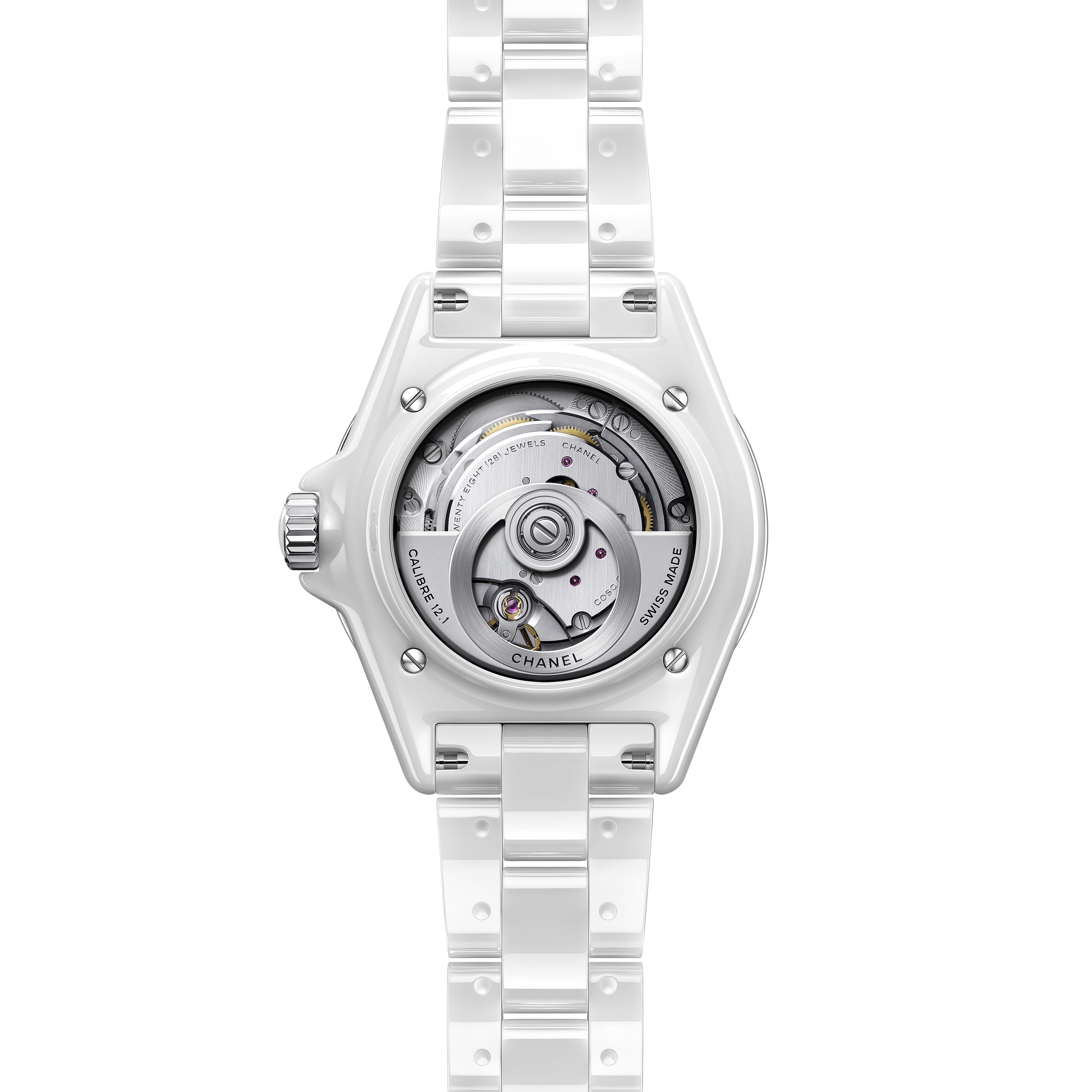 J12 Watch Calibre 12.1, 38 mm - White highly resistant ceramic, steel and diamonds - CHANEL - Other view - see standard sized version