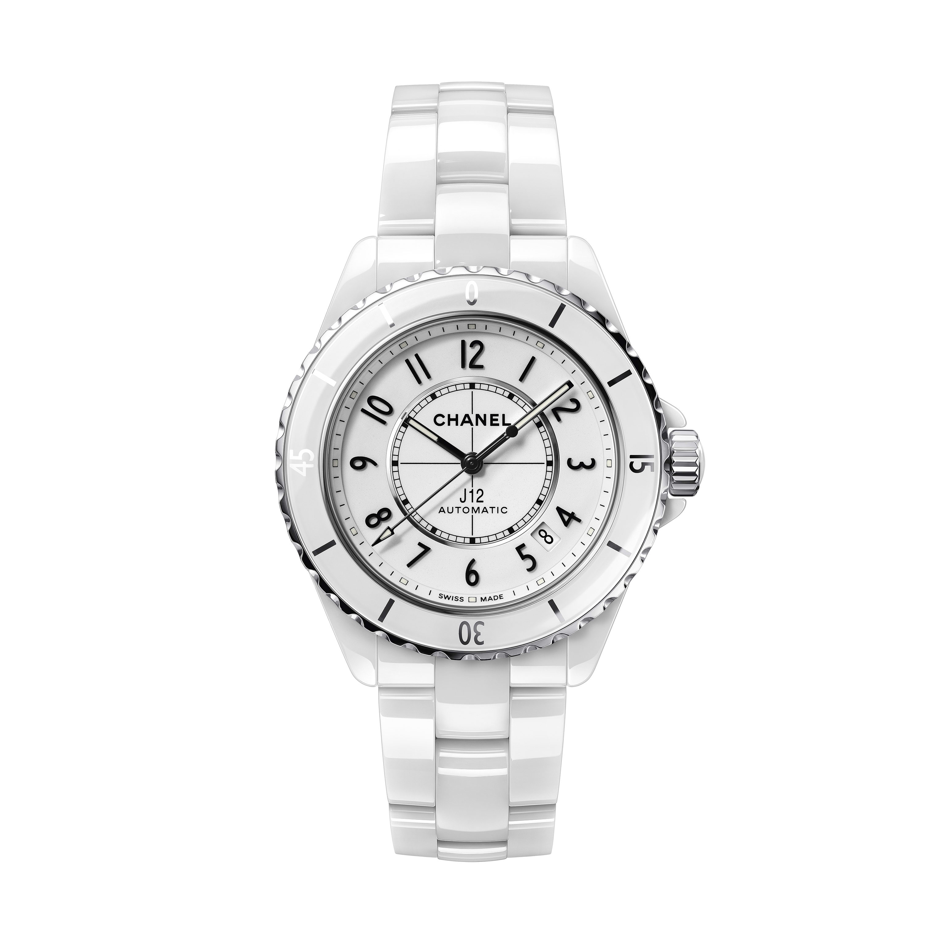 J12 Watch Calibre 12.1, 38 mm - White highly resistant ceramic and steel - CHANEL - Default view - see standard sized version