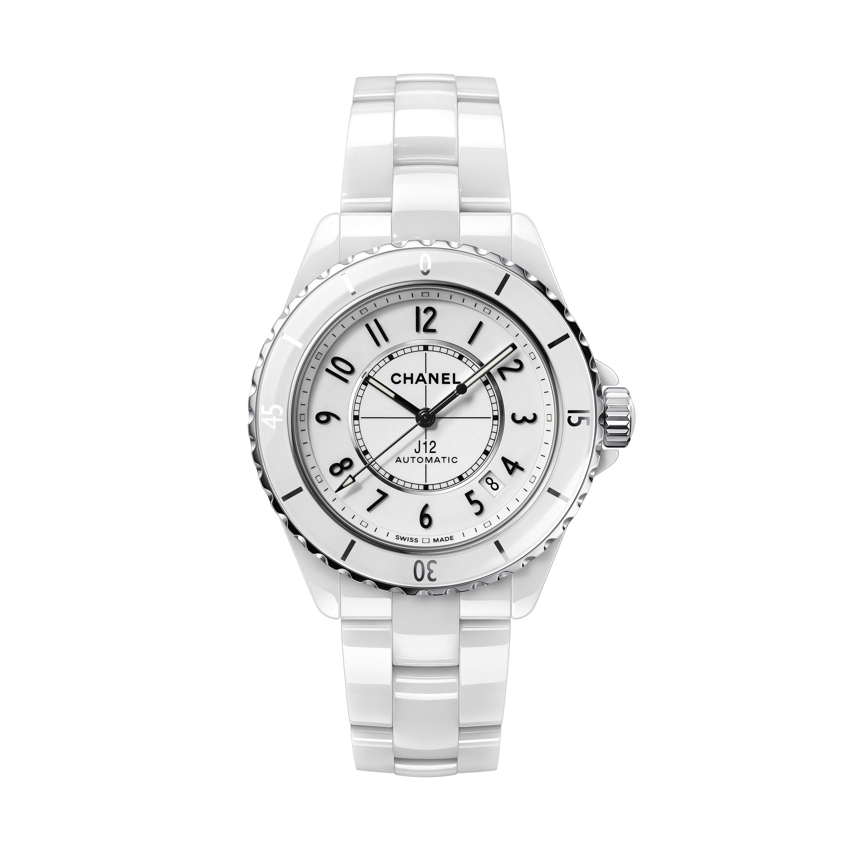 นาฬิกา J12 คาลิเบอร์ 12.1 ขนาด 38 มม. - เซรามิกความทนทานสูงสีขาวและสตีล - CHANEL - มุมมองปัจจุบัน - ดูเวอร์ชันขนาดมาตรฐาน
