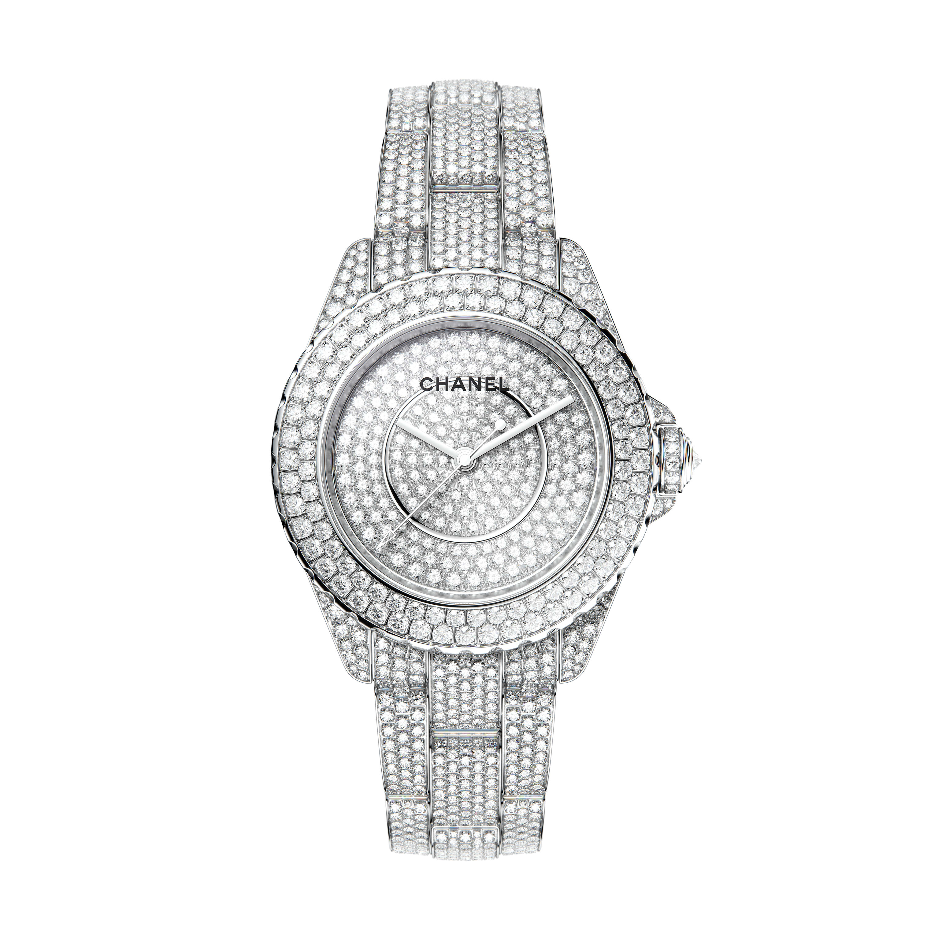 J12 Watch Calibre 12.1, 38 mm - 18K white gold case, dial, bezel, crown and bracelet set with brilliant-cut diamonds - CHANEL - Default view - see standard sized version