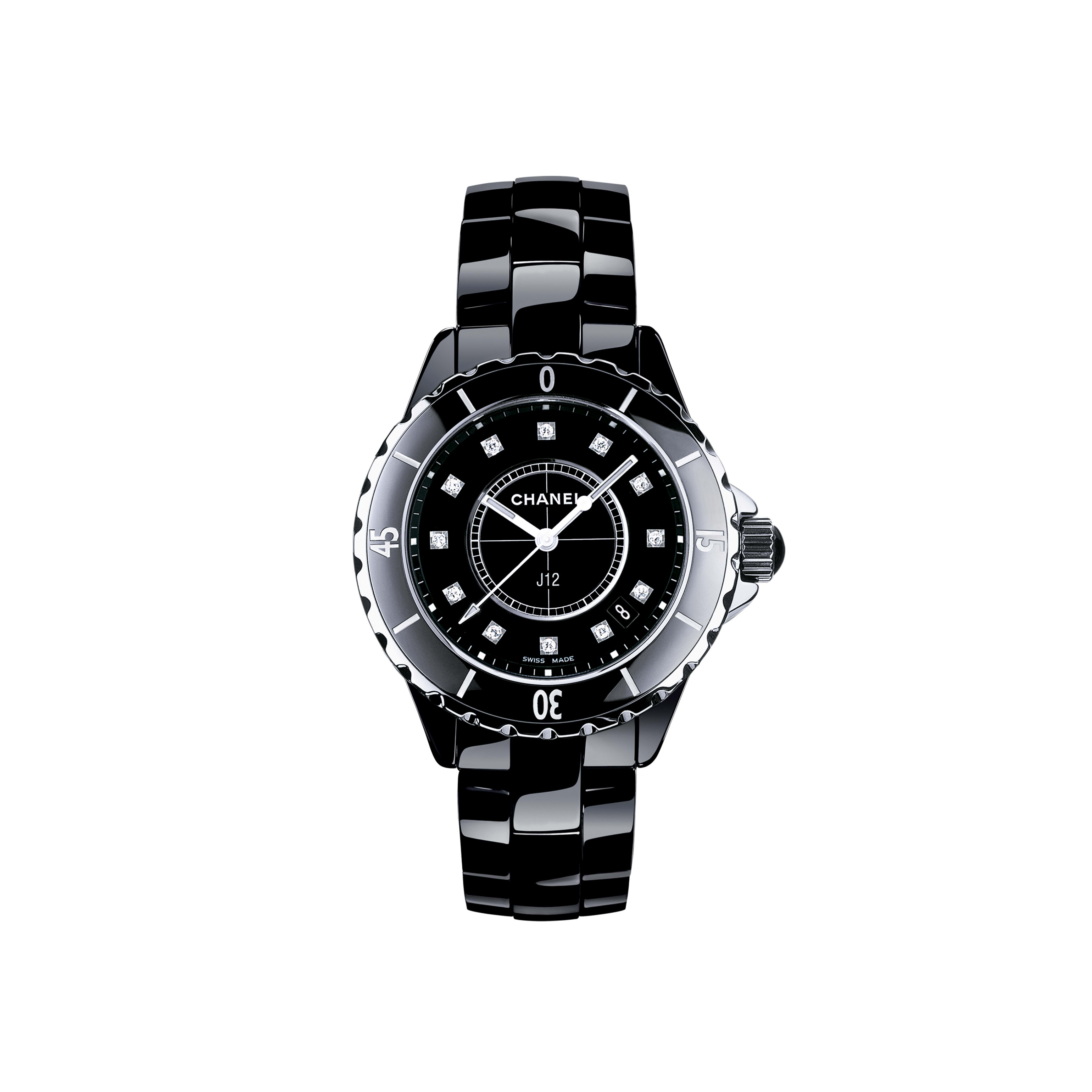 J12 - Black highly resistant ceramic and steel, diamond indicators - CHANEL - Default view - see standard sized version