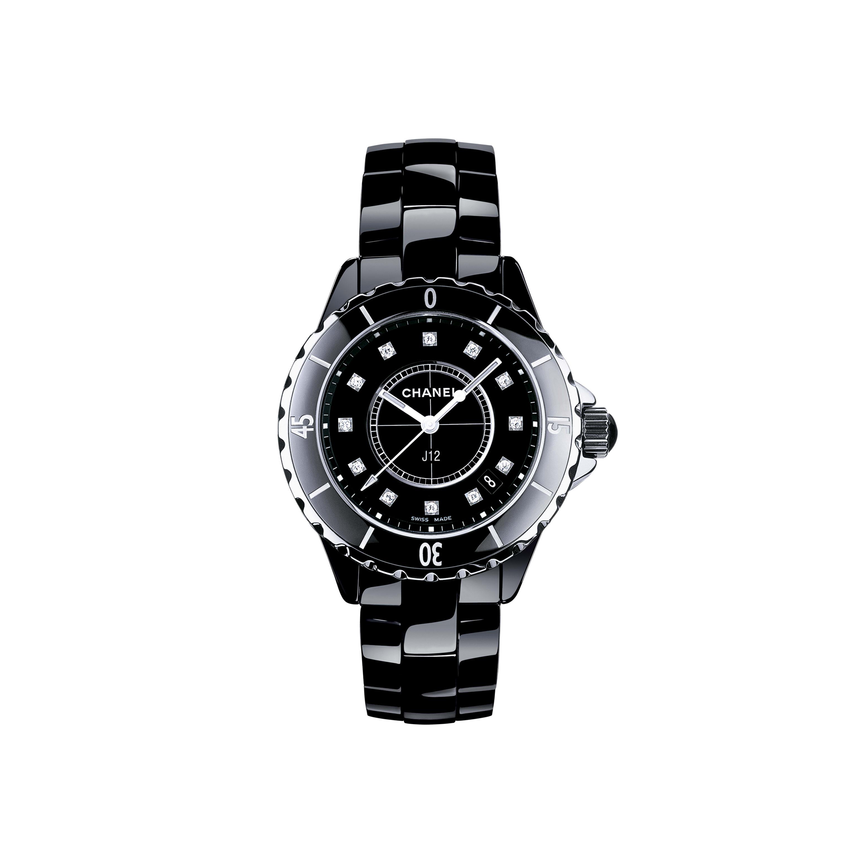 Orologio J12 - Acciaio e ceramica nera ad alta resistenza, indici di diamanti - CHANEL - Immagine predefinita - vedere versione standard