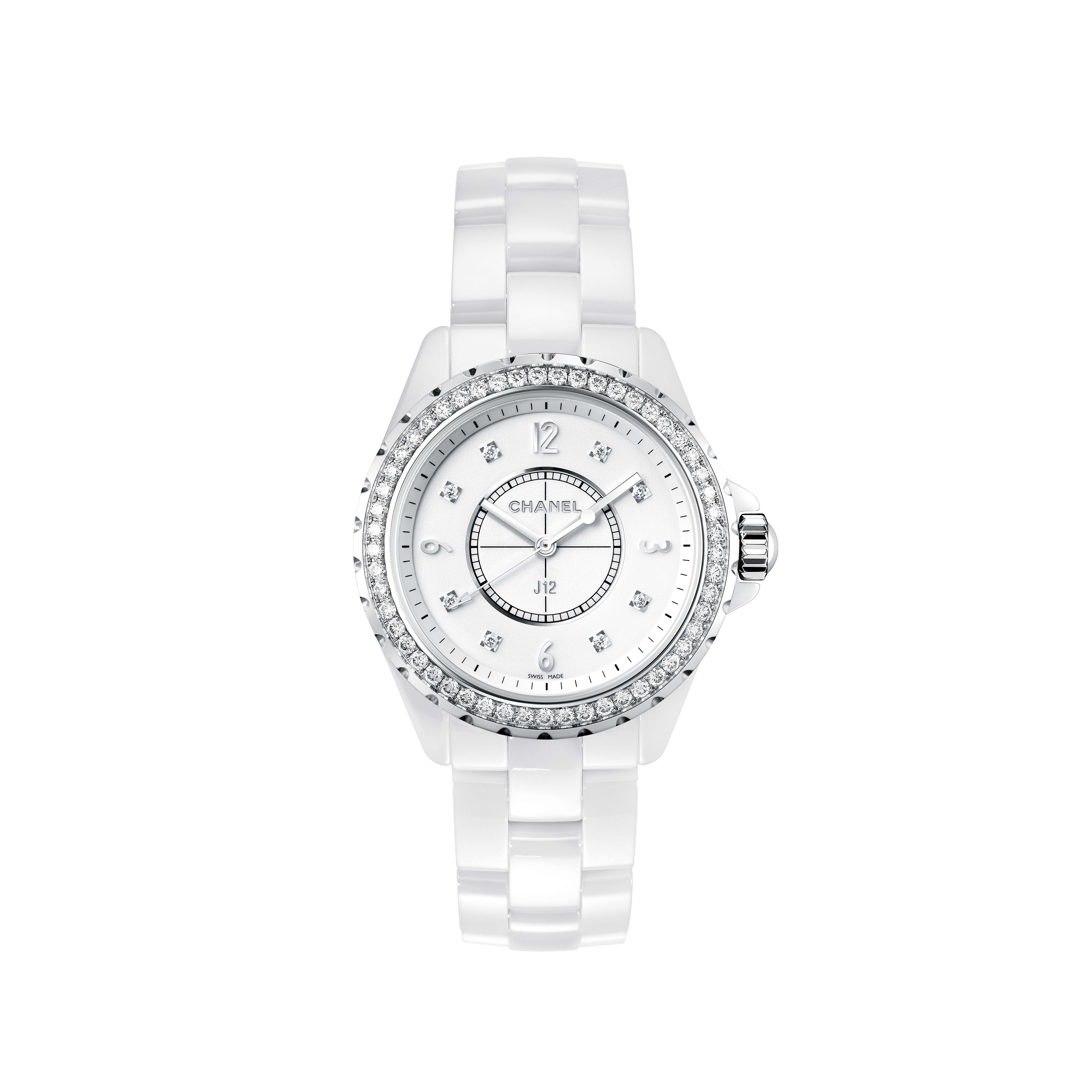 J12 Watch - White highly resistant ceramic and steel, brilliant-cut diamond bezel and indicators - CHANEL - Default view - see standard sized version