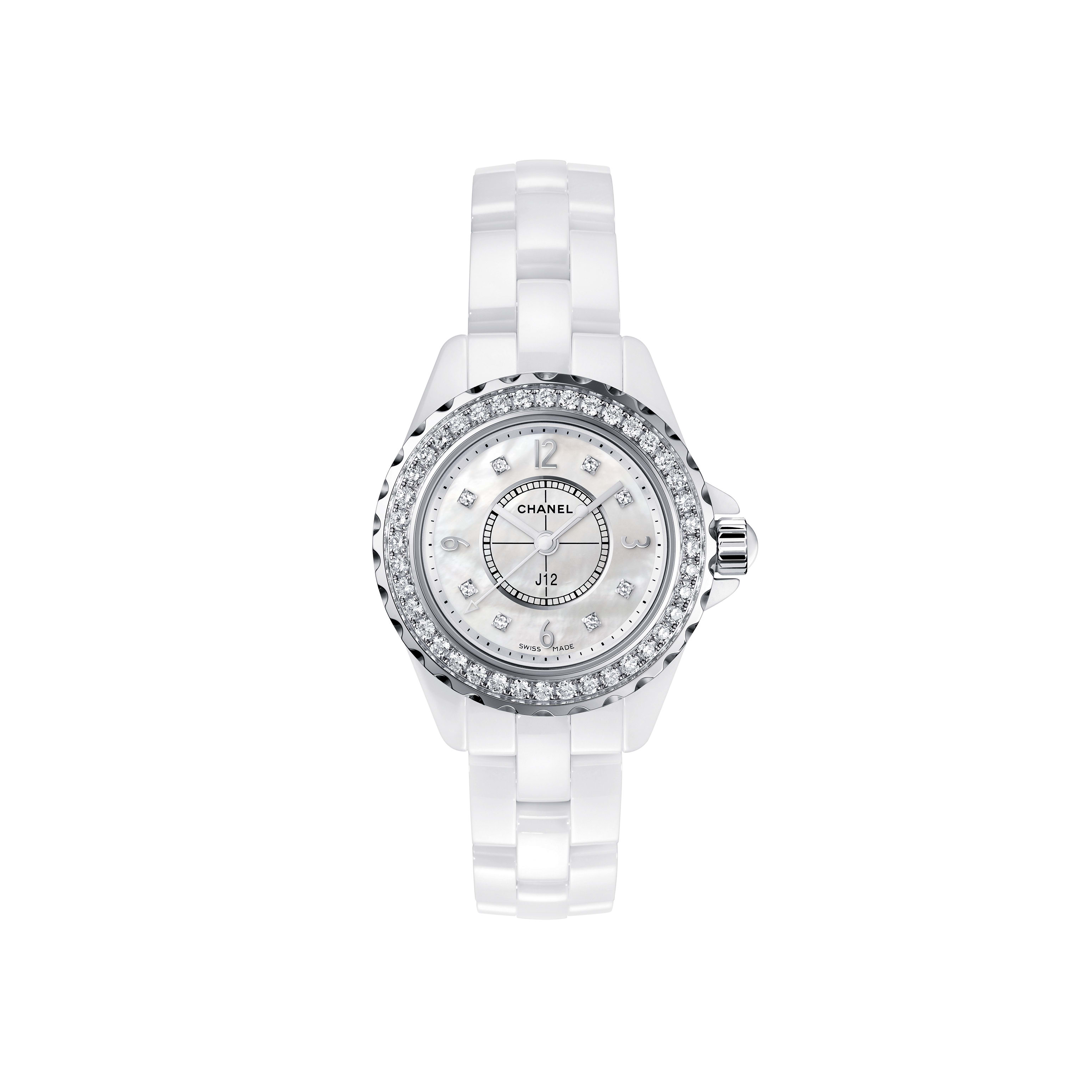 J12 - White highly resistant ceramic and steel, brilliant-cut diamond bezel and indicators, white mother-of-pearl dial - CHANEL - Default view - see standard sized version