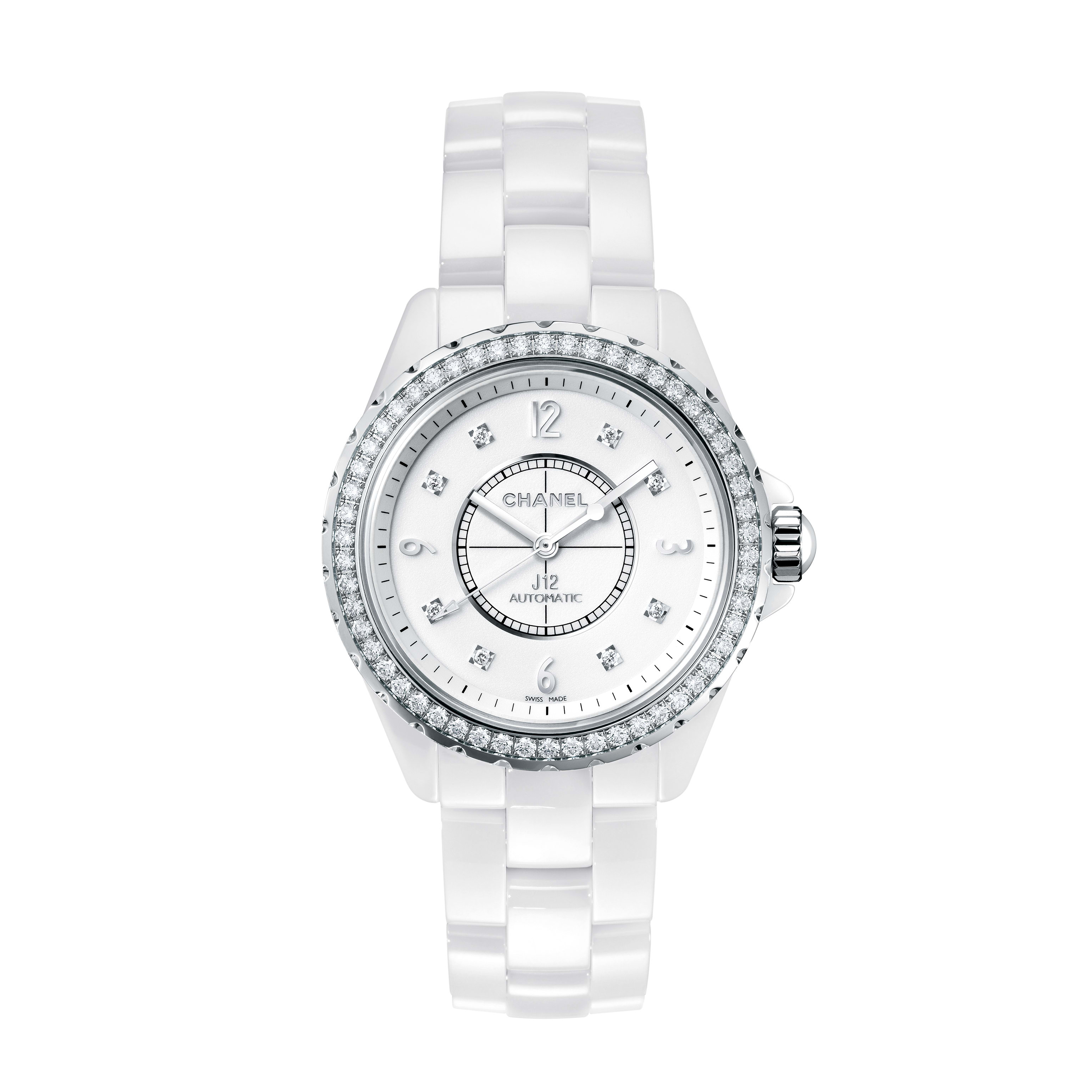 J12 - White highly resistant ceramic and steel, brilliant-cut diamond bezel and indicators - CHANEL - Default view - see standard sized version