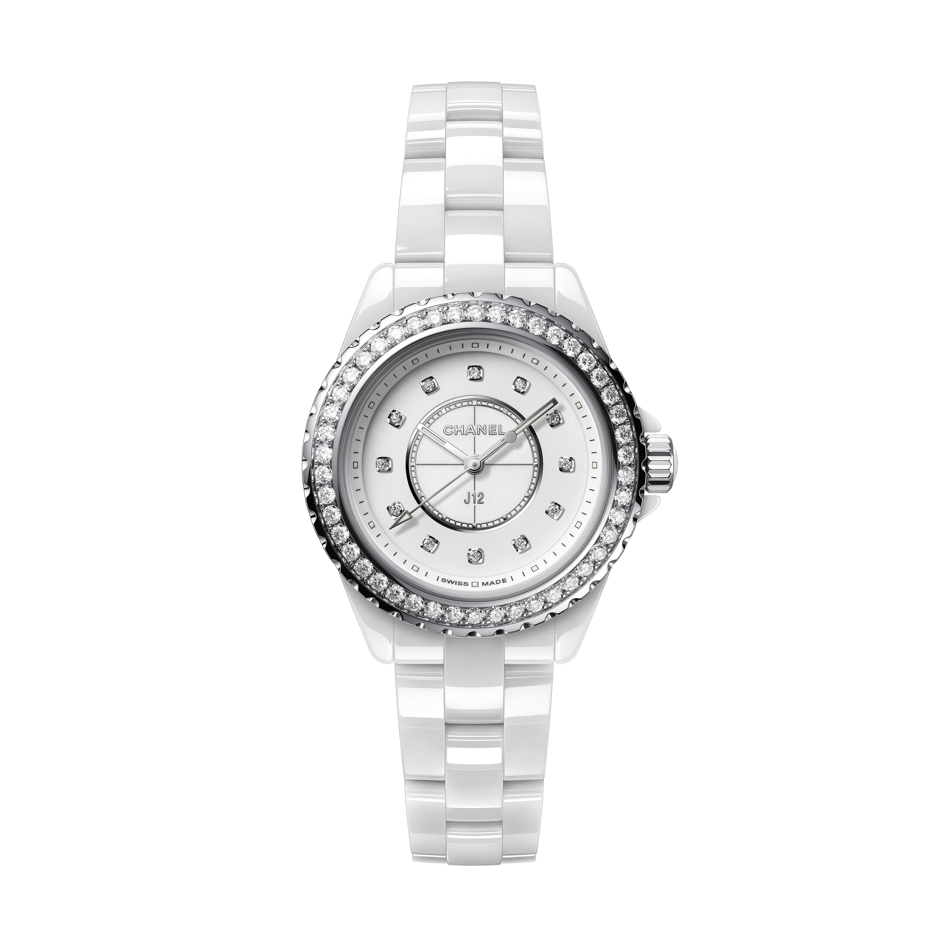 J12 Watch - White highly resistant ceramic, steel and diamonds - CHANEL - Default view - see standard sized version
