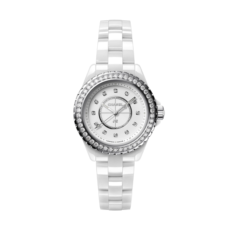 J12腕錶 - 白色高抗磨陶瓷,精鋼和鑽石 - CHANEL - 預設視圖 - 查看標準尺寸版本