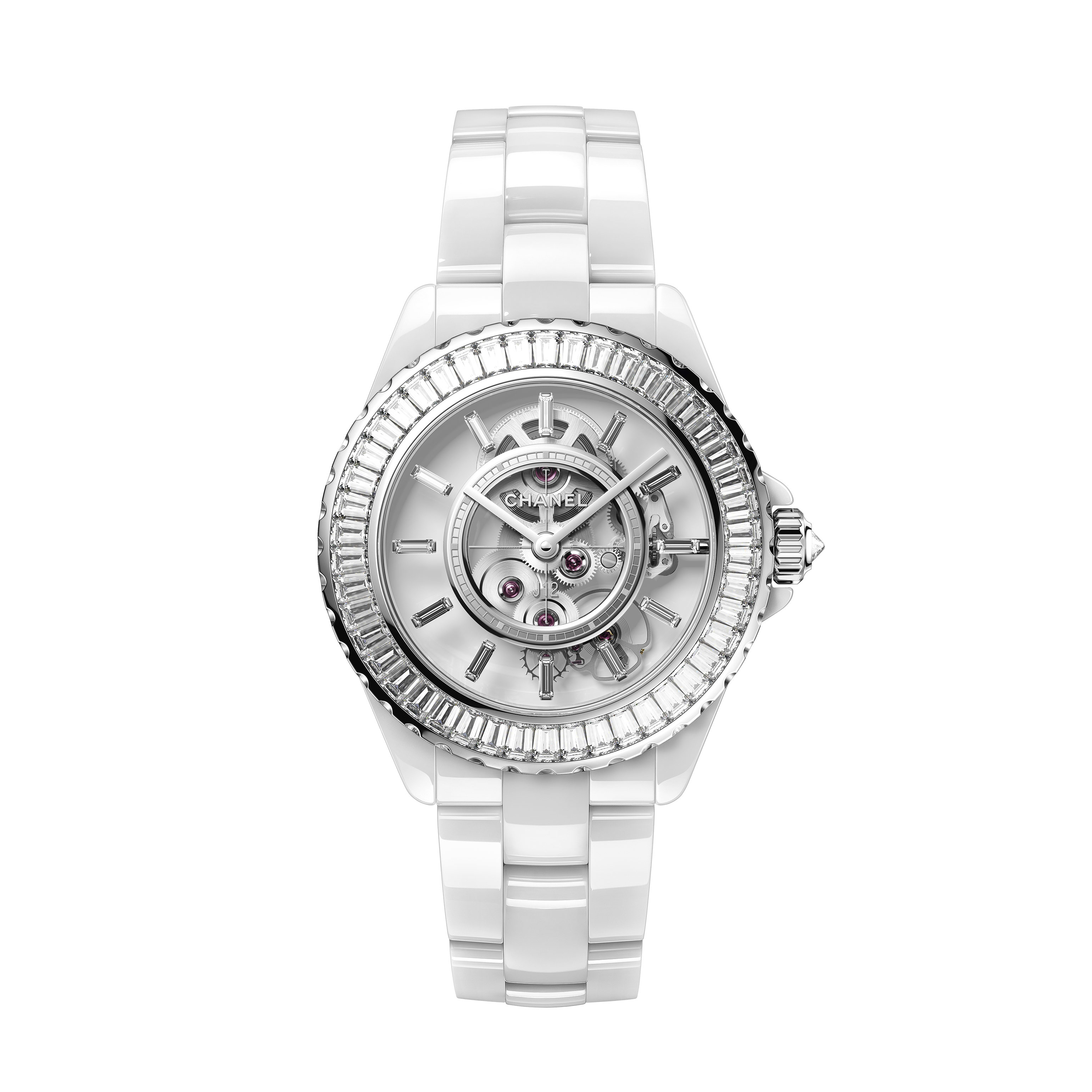 J12 White Calibre 3.1 Watch, 38 mm - White highly resistant ceramic, white gold and sapphire set with baguette-cut diamonds - CHANEL - Default view - see standard sized version