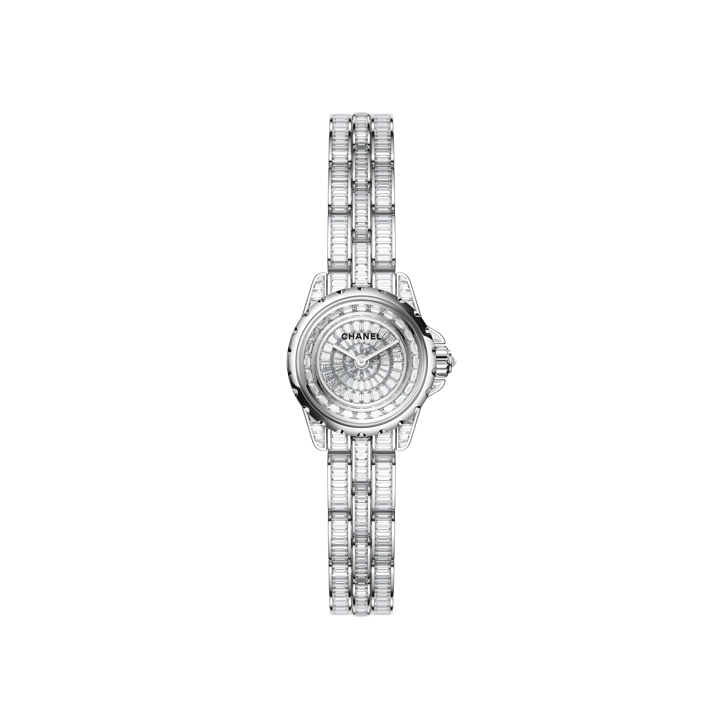 J12·XS High Jewellery Watch - White gold, case, dial, flange and bracelet set with baguette-cut diamonds - CHANEL - Default view - see standard sized version