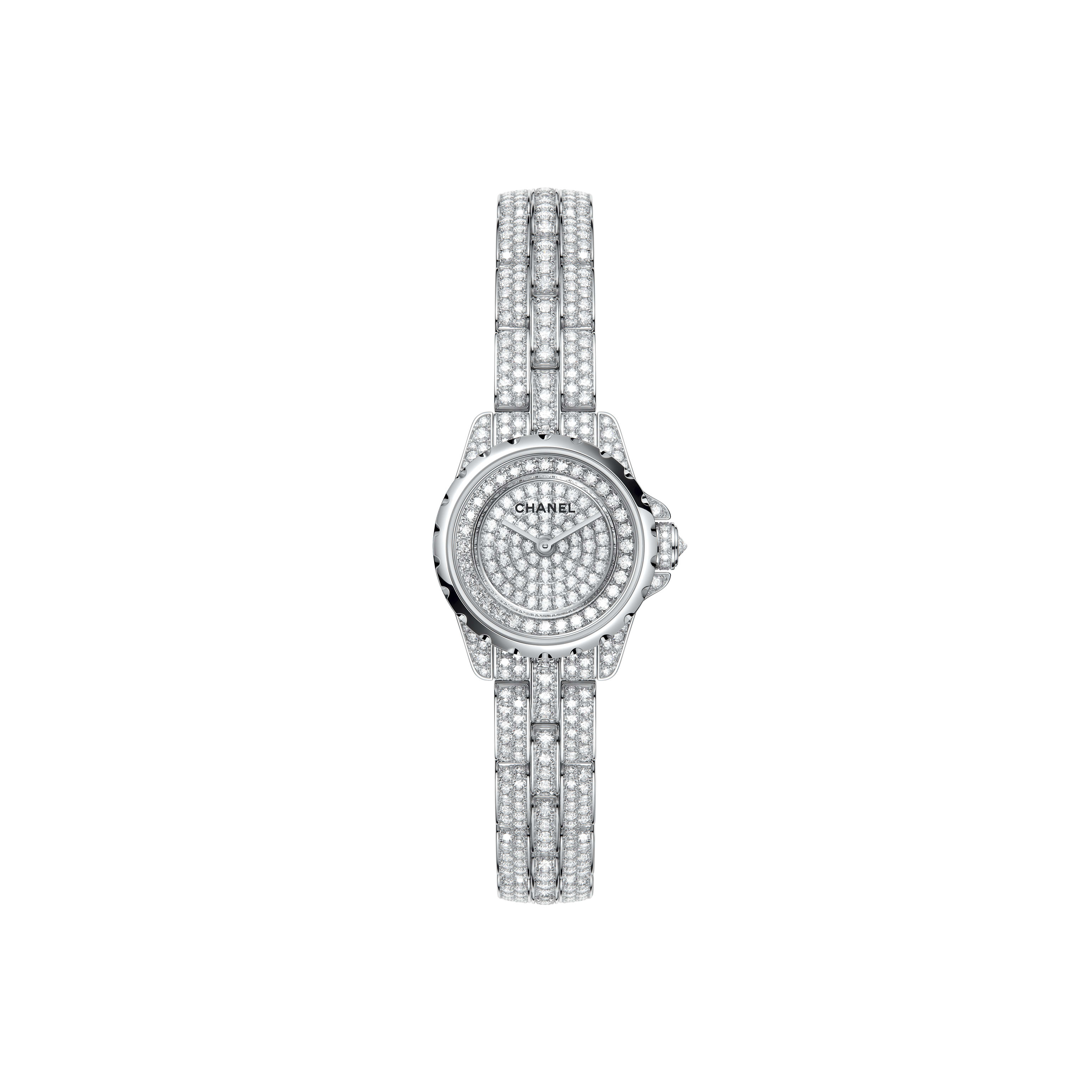 J12·XS High Jewellery Watch - White gold, case, dial, bezel and bracelet set with brilliant-cut diamonds - CHANEL - Default view - see standard sized version
