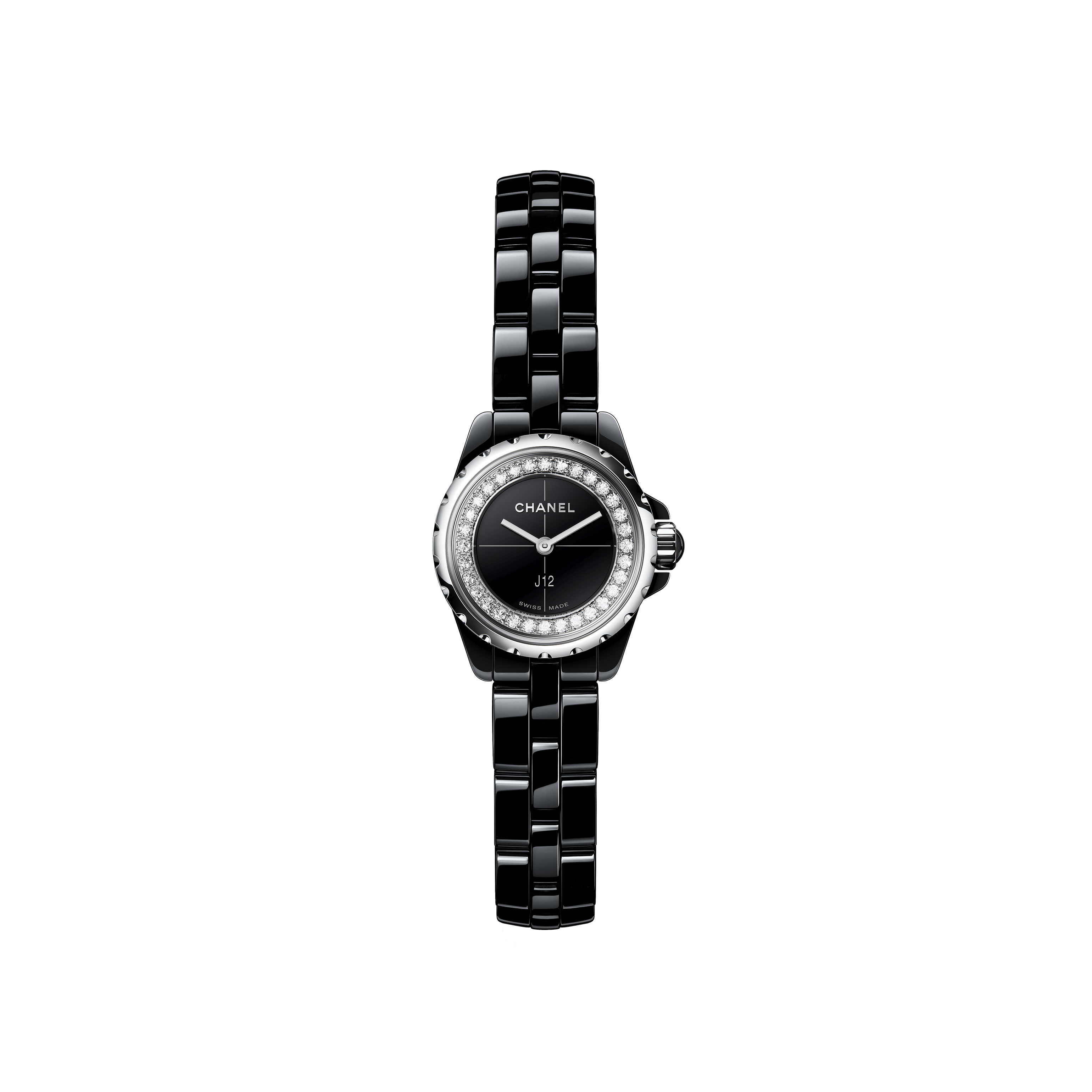 J12∙XS Watch, 19 mm - Black highly resistant ceramic and steel, brilliant-cut diamond flange - CHANEL - Default view - see standard sized version