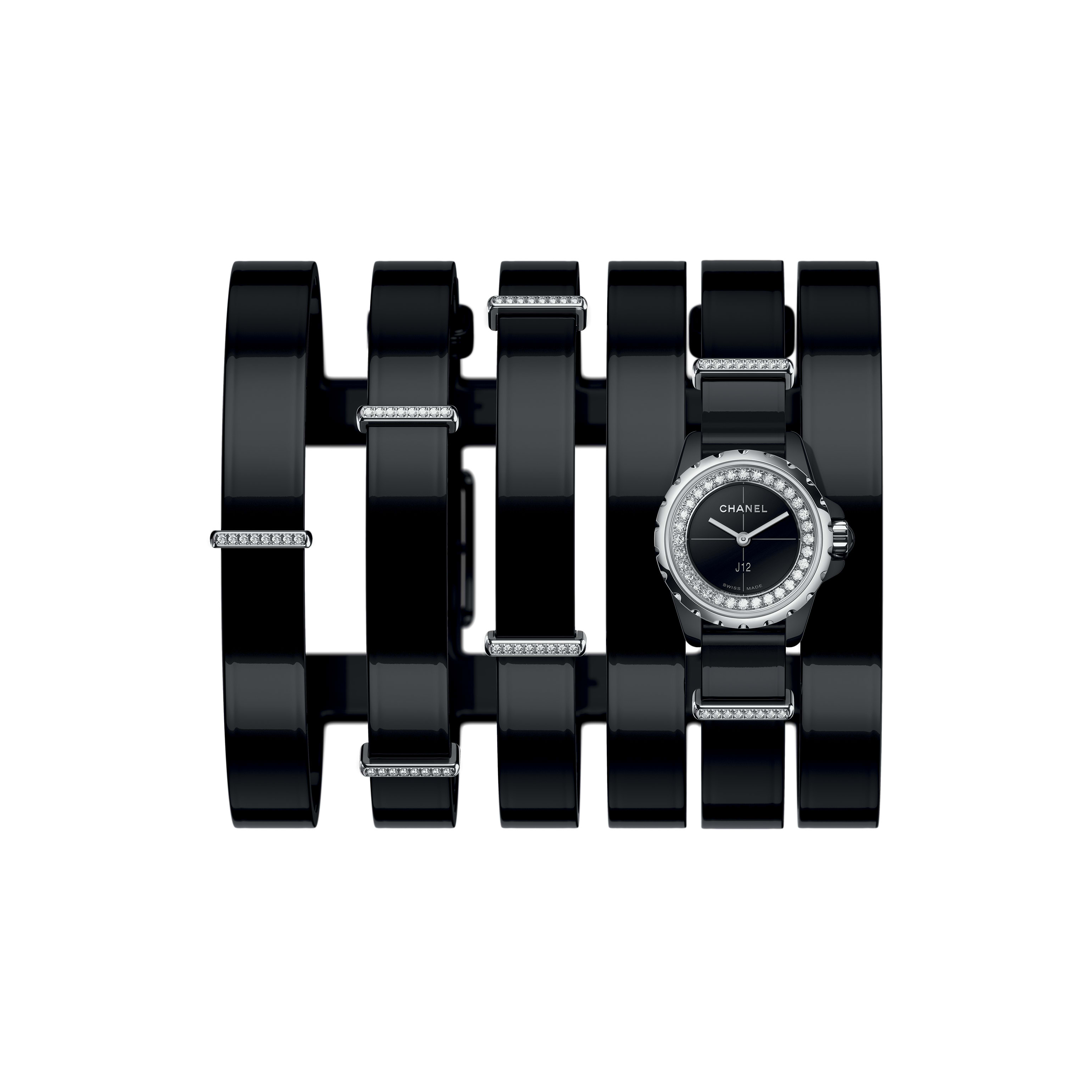 J12·XS Watch, 19 mm - Large black leather cuff, black highly resistant ceramic and steel, brilliant-cut diamond flange and loops - CHANEL - Default view - see standard sized version