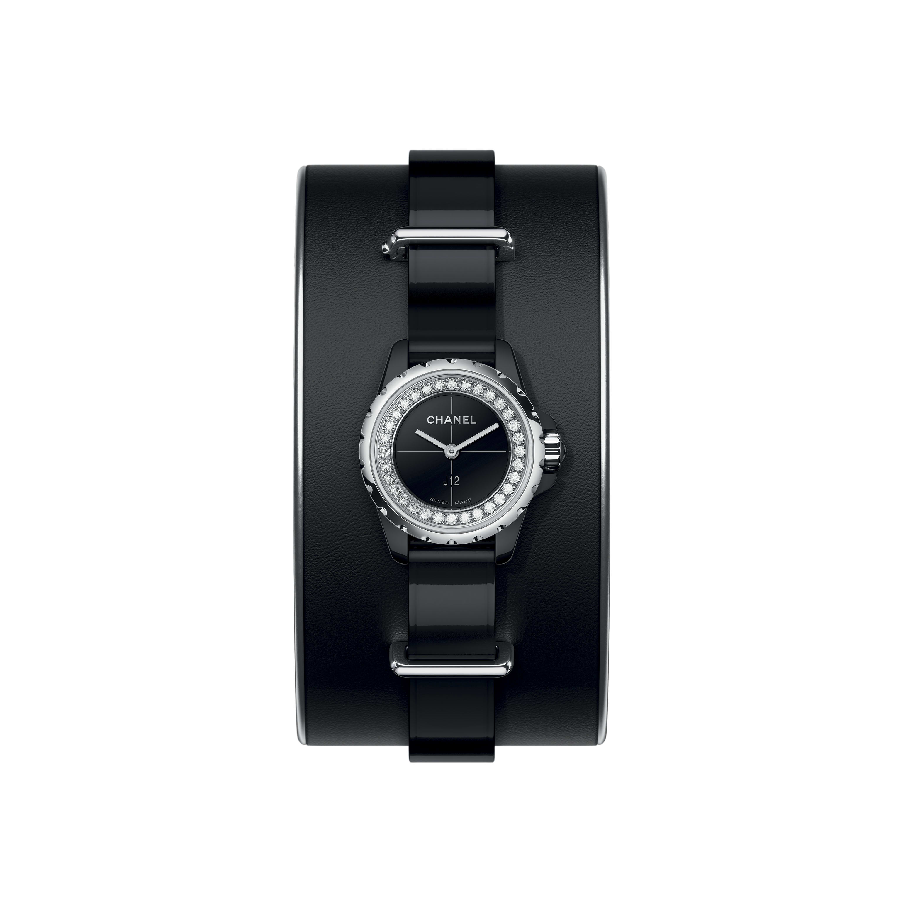 J12·XS Watch, 19 mm - Small cuff in black leather, black highly resistant ceramic and steel, flange set with diamonds - CHANEL - Default view - see standard sized version