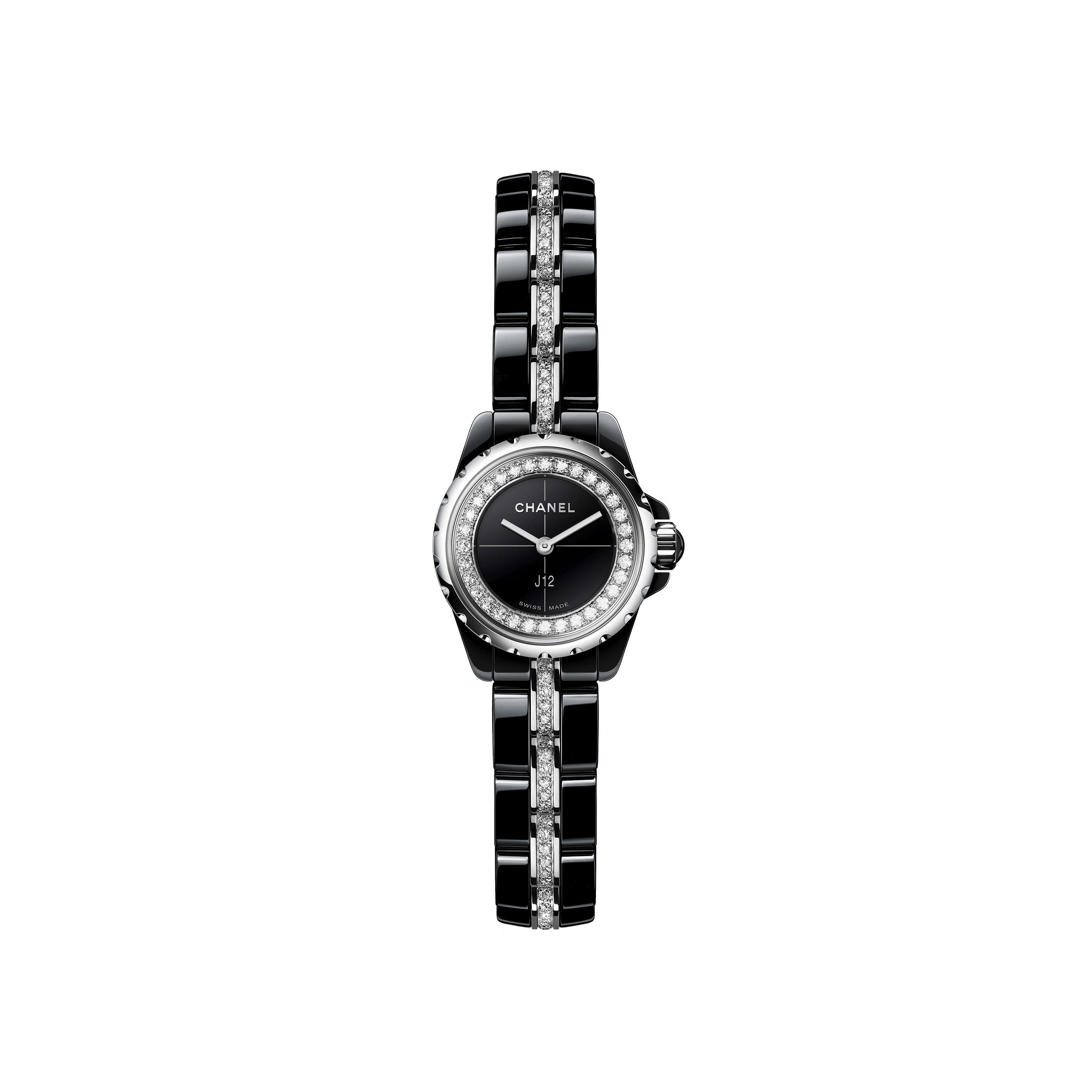 J12∙XS Watch, 19 mm - Black highly resistant ceramic and steel, brilliant-cut diamond flange and bracelet - CHANEL - Default view - see standard sized version