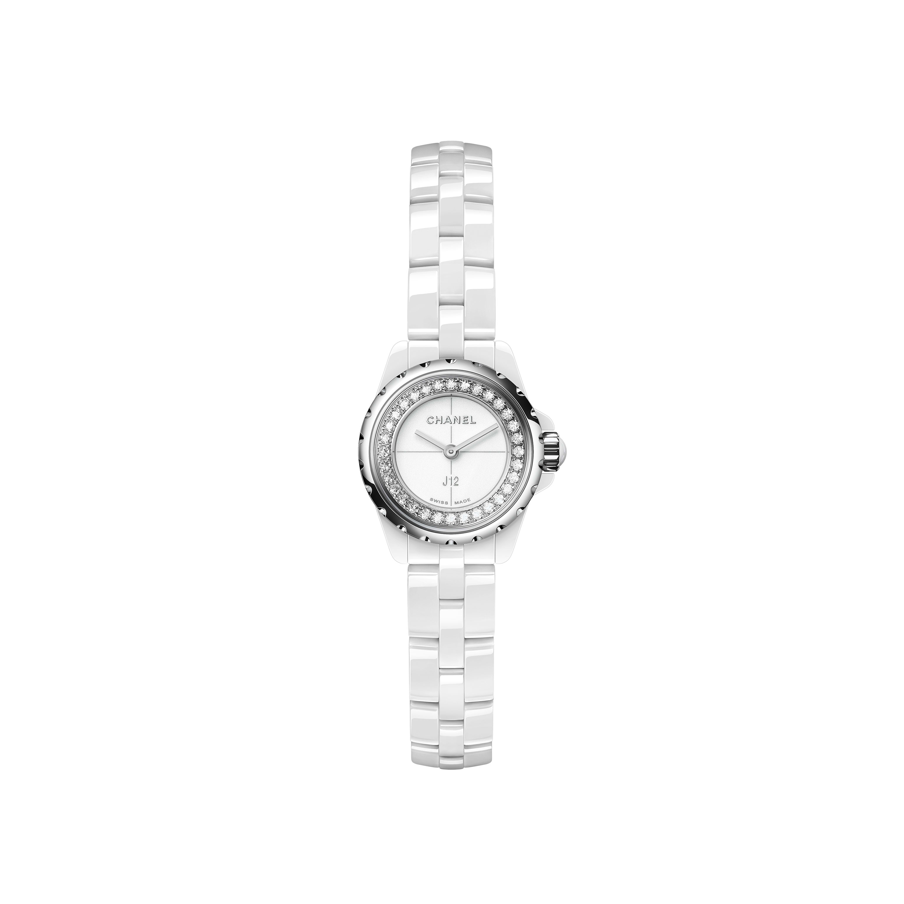 J12∙XS Watch, 19 mm - White highly resistant ceramic and steel, brilliant-cut diamond flange - CHANEL - Default view - see standard sized version