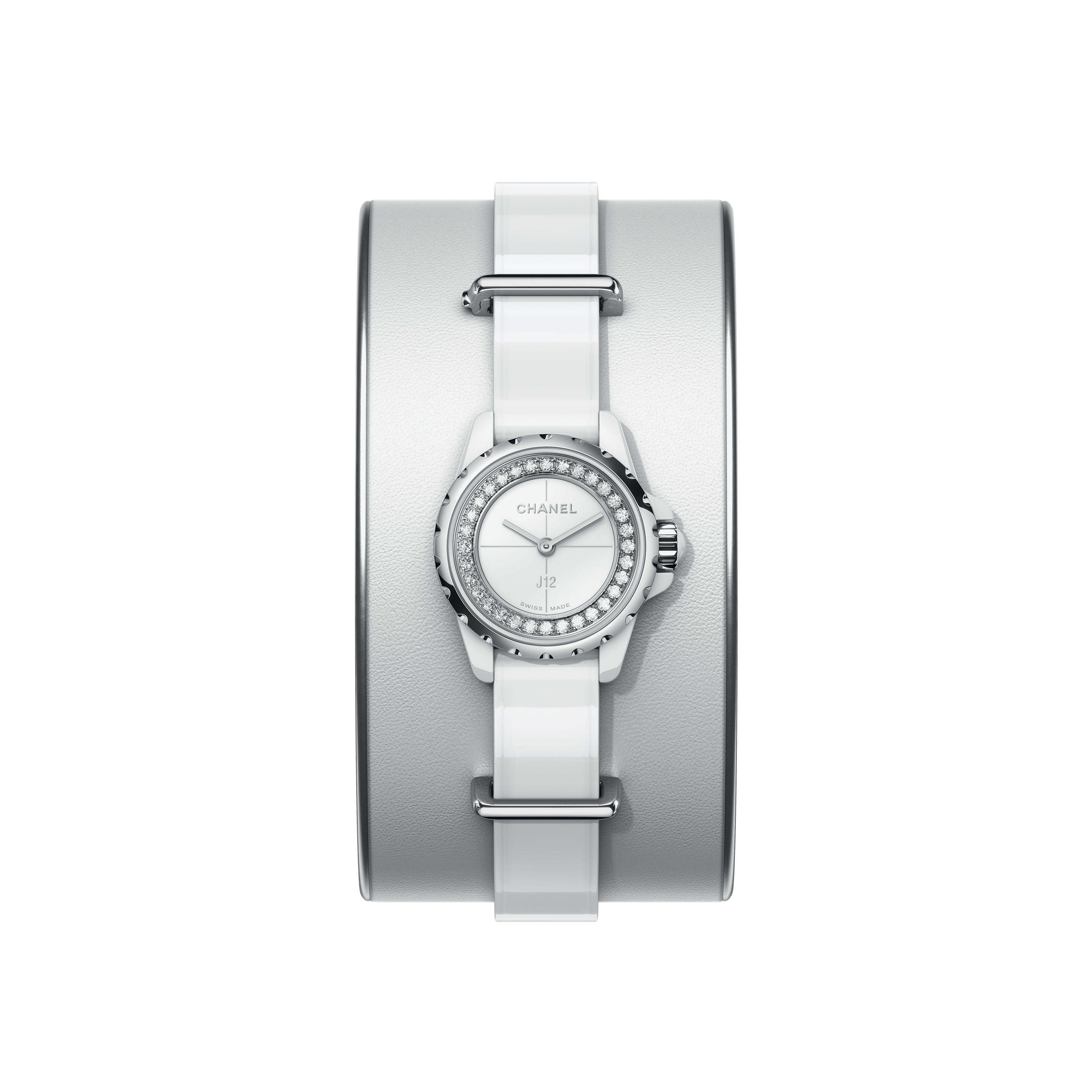 J12·XS Watch, 19 mm - Small cuff in white leather, white highly resistant ceramic and steel, flange set with diamonds - CHANEL - Default view - see standard sized version