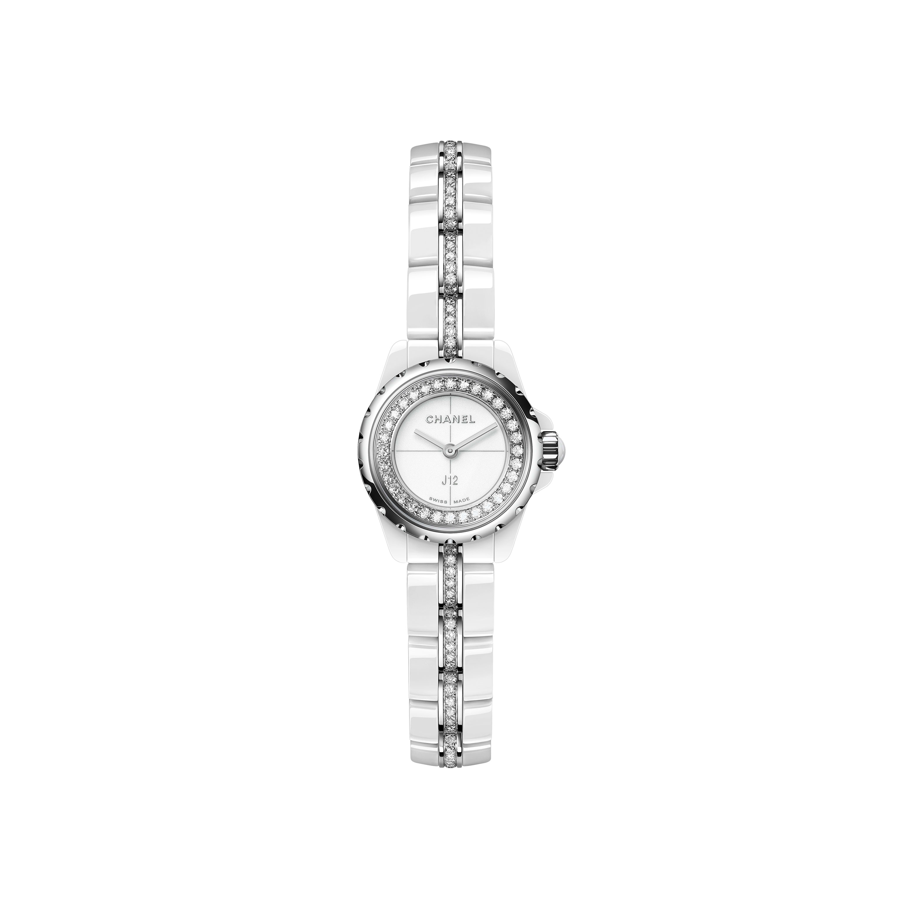 J12∙XS Watch, 19 mm - White highly resistant ceramic and steel, brilliant-cut diamond flange and bracelet - CHANEL - Default view - see standard sized version