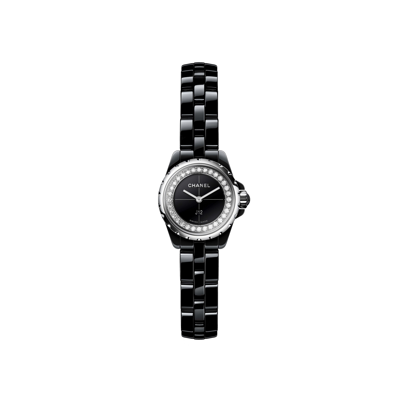 Reloj J12∙XS - Cerámica de alta resistencia negra y acero, realce engastado con diamantes talla brillante - CHANEL - Vista por defecto - ver la versión tamaño estándar