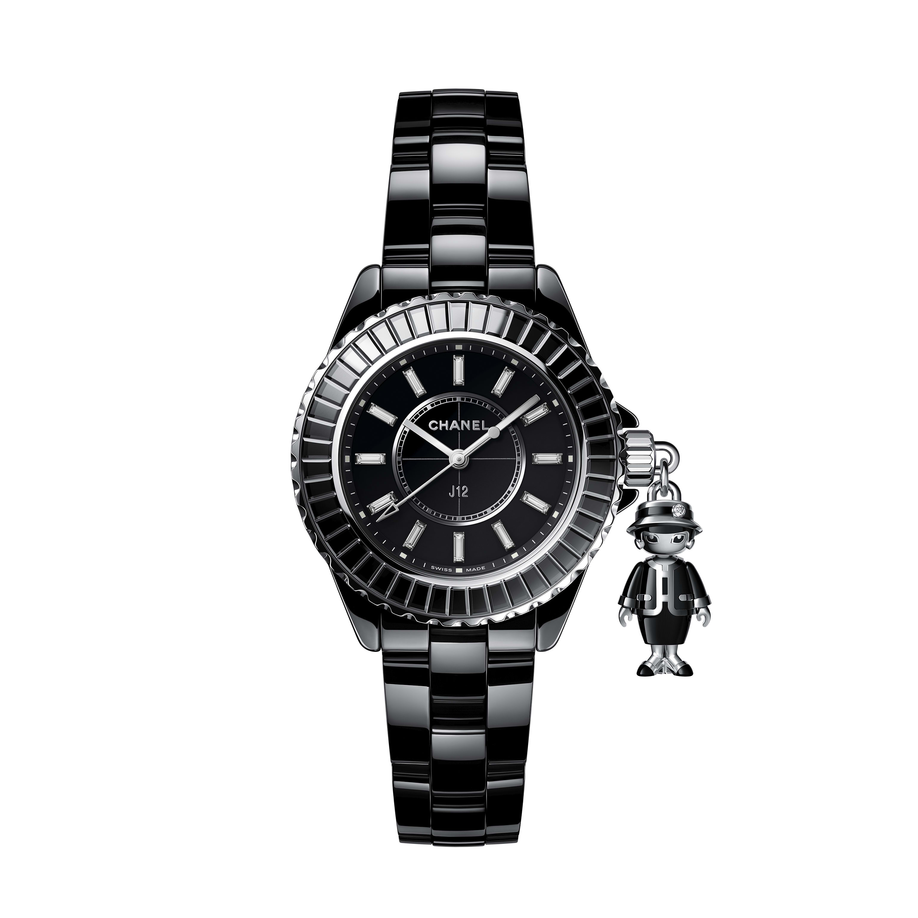 Mademoiselle J12 Acte II Watch, 33 mm - Black highly resistant ceramic, 18K white gold and diamonds - CHANEL - Default view - see standard sized version