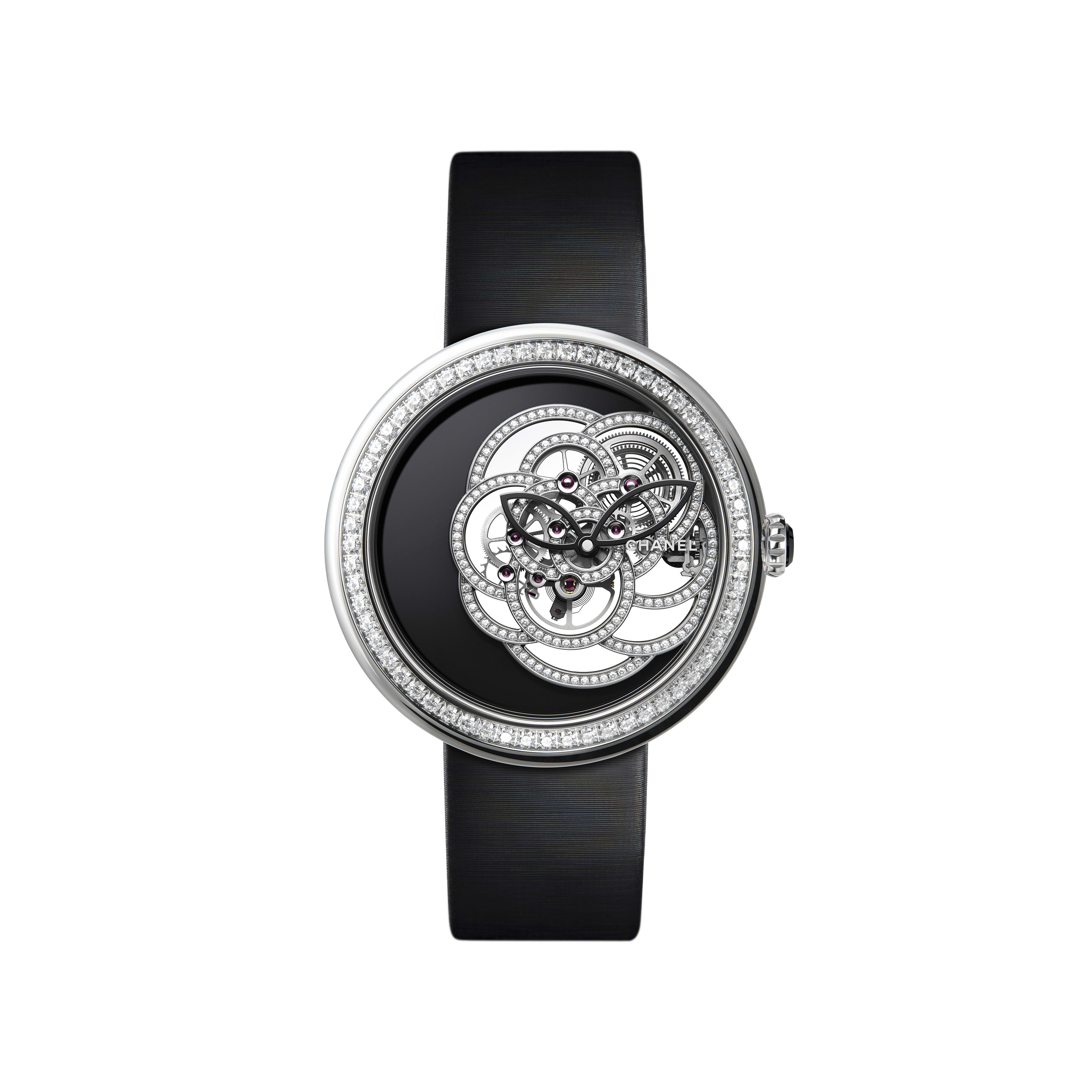 Mademoiselle Privé Camélia Skeleton Watch - White gold case and skeleton set with brilliant cut diamonds - Default view - see standard sized version