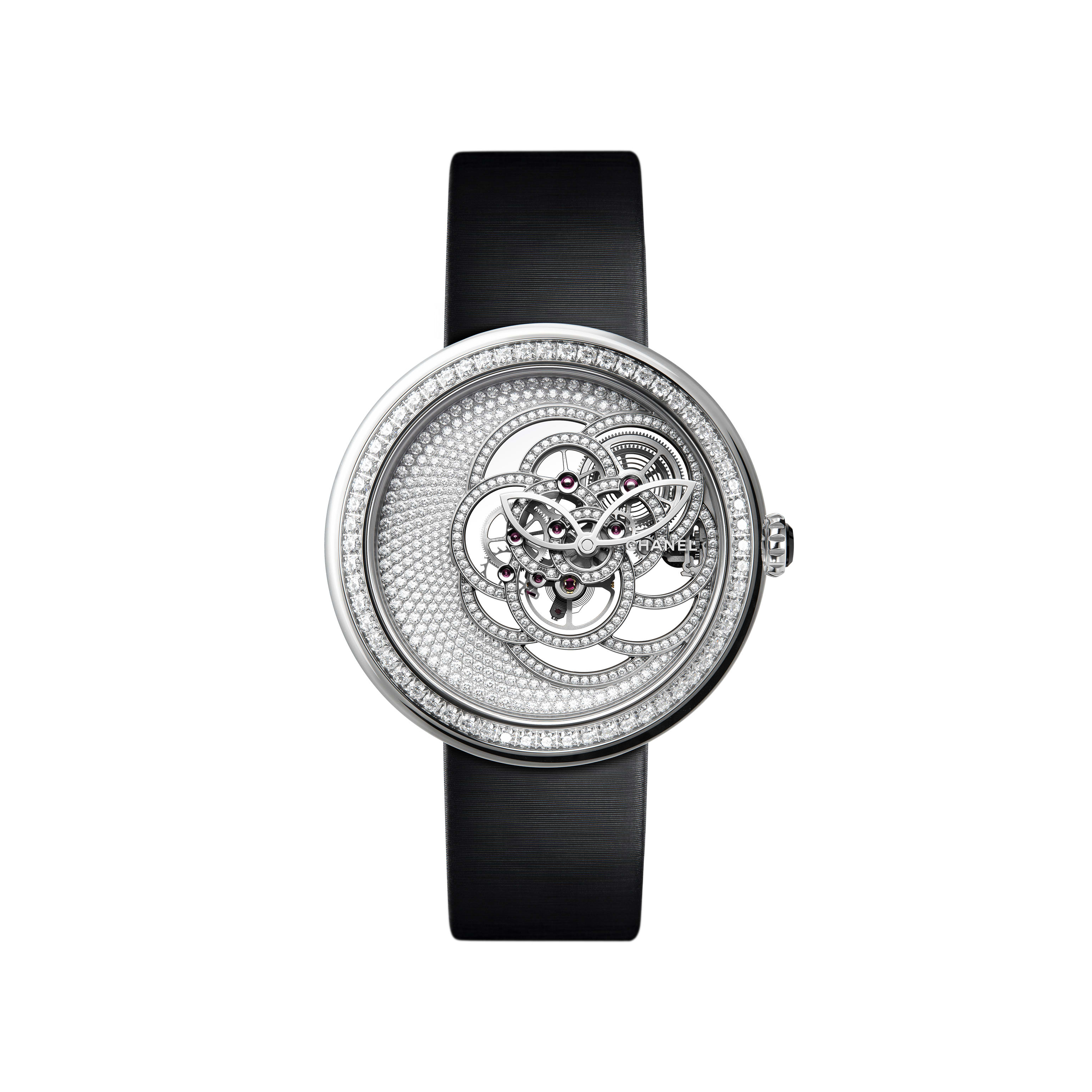 Mademoiselle Privé Camélia Skeleton Watch - White gold case, dial and skeleton set with brilliant cut diamonds - Default view - see standard sized version