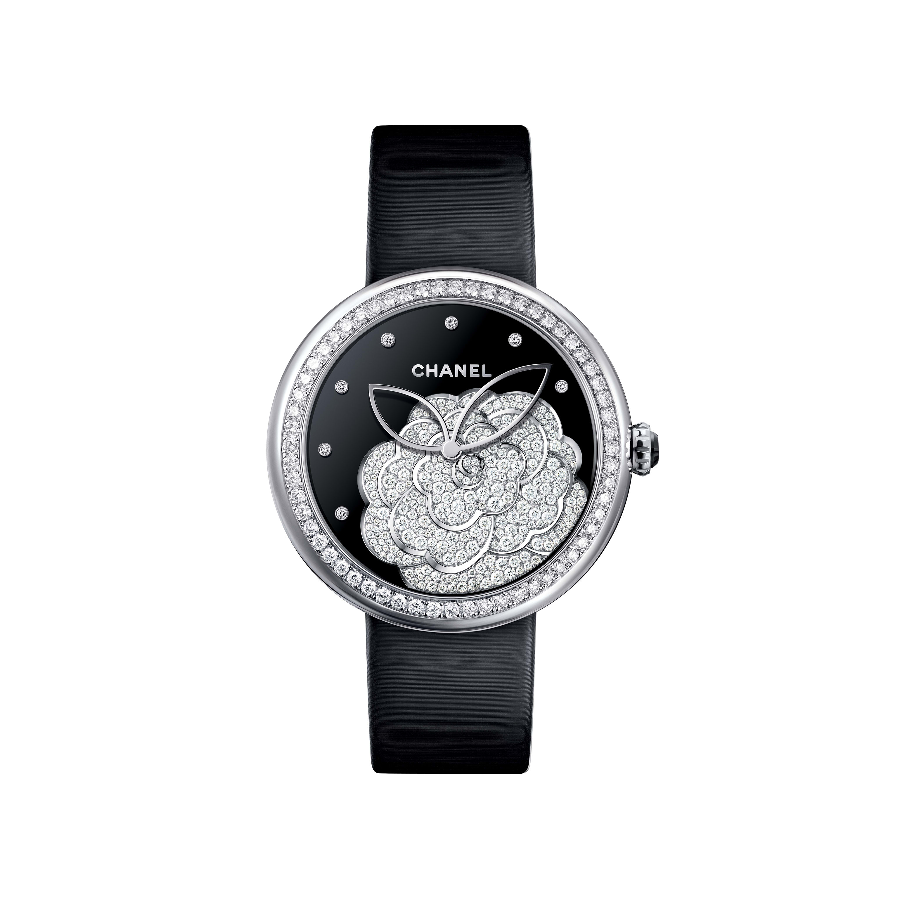 Mademoiselle Privé - Camellias set with diamonds, onyx dial, diamond indicators - CHANEL - Default view - see standard sized version