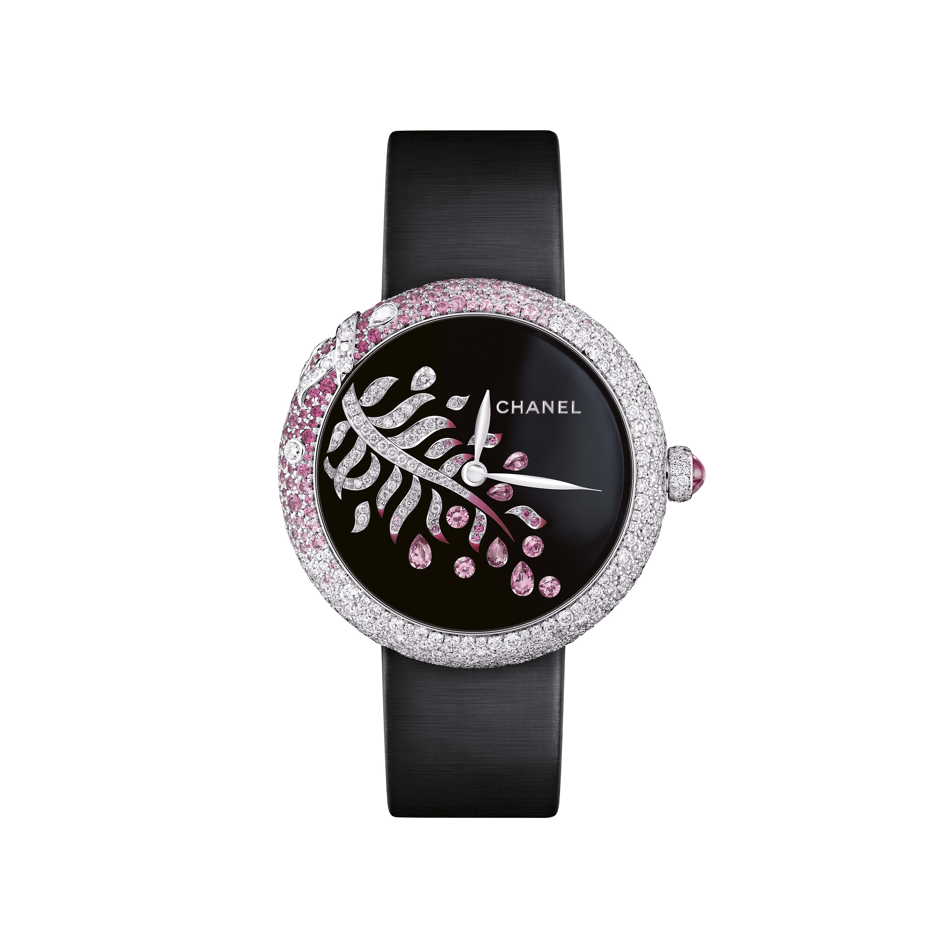 Mademoiselle Privé - La Plume Enchantée Jewellery - Grand Feu black enamel dial, diamonds and pink sapphires - CHANEL - Default view - see standard sized version