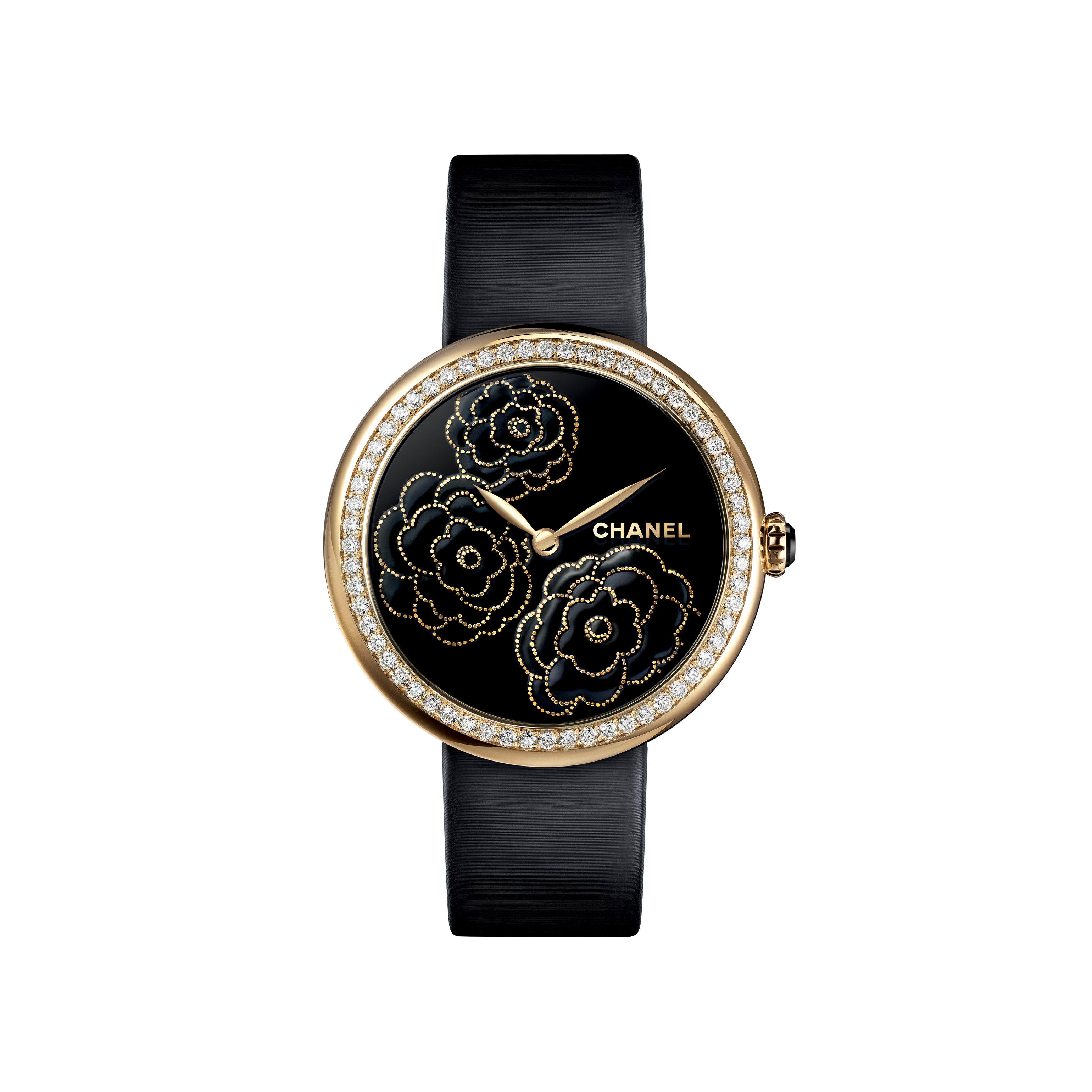 Mademoiselle Privé Watch - Camellia motifs in yellow gold, black-lacquered dial - Maki-e technique - CHANEL - Default view - see standard sized version