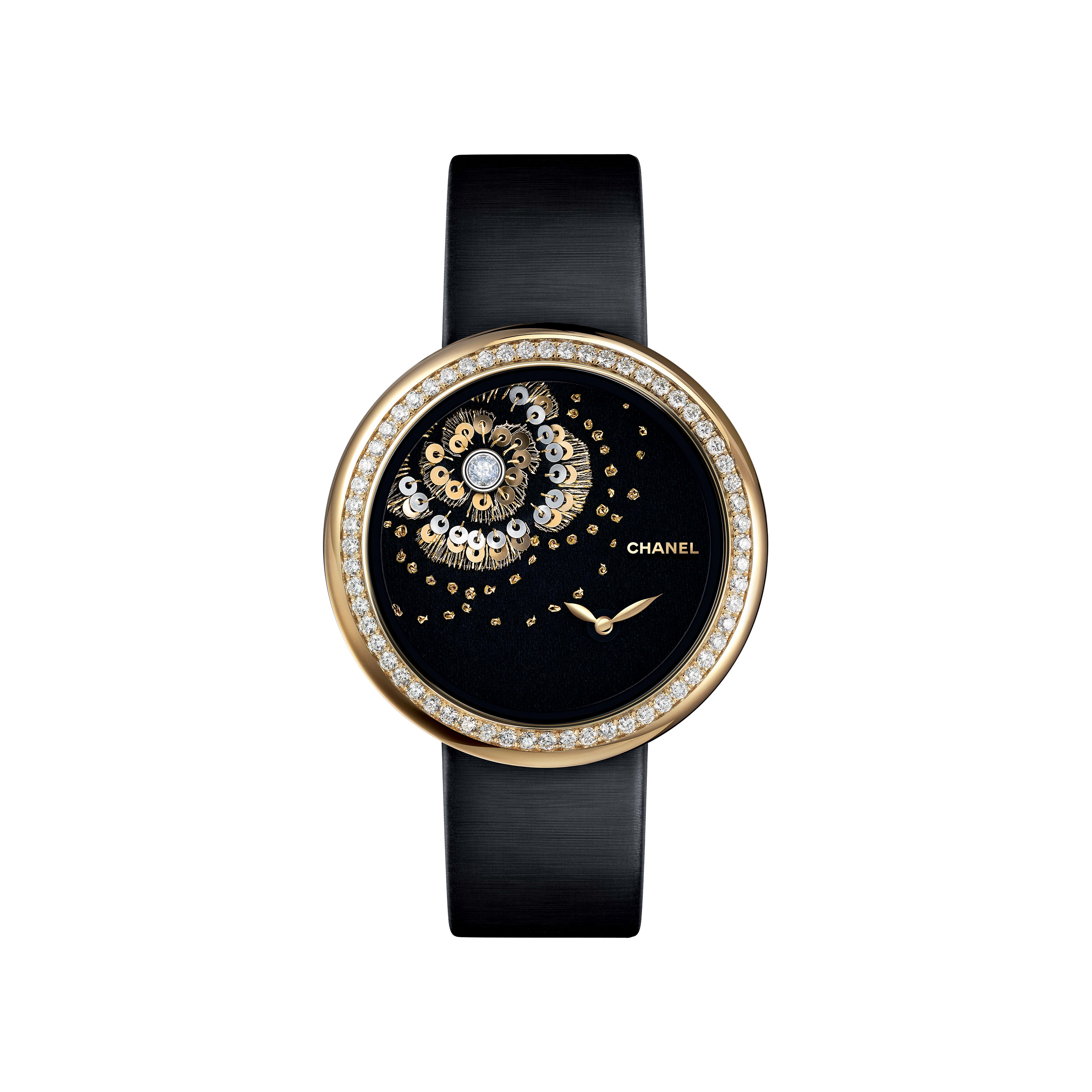 Mademoiselle Privé Watch - Camellia in gold thread, diamonds, and gold spangles - Lesage embroidery - CHANEL - Default view - see standard sized version