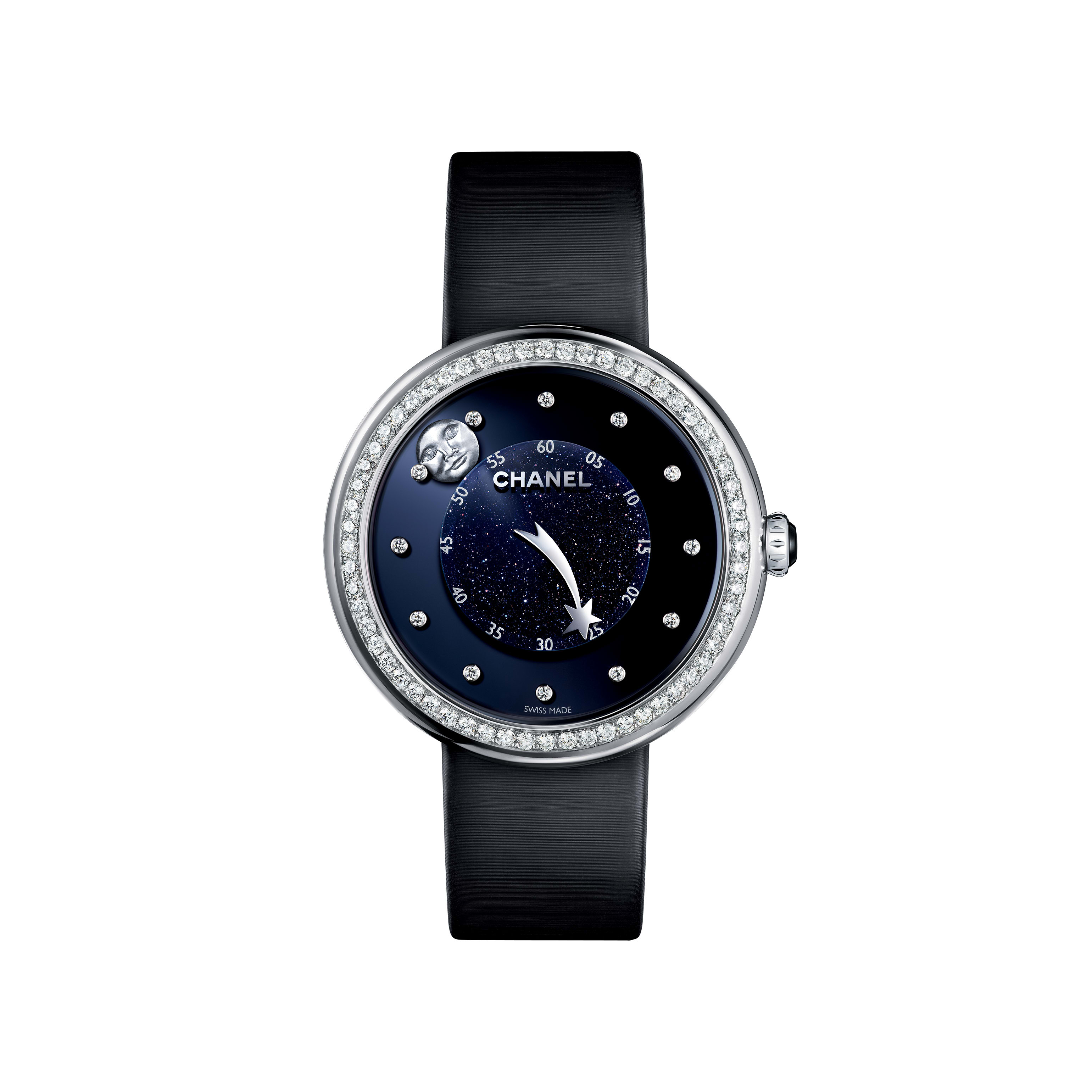 Mademoiselle Privé - Aventurine dial, man-in-the-moon and comet motif hands, diamond indicators - CHANEL - Default view - see standard sized version