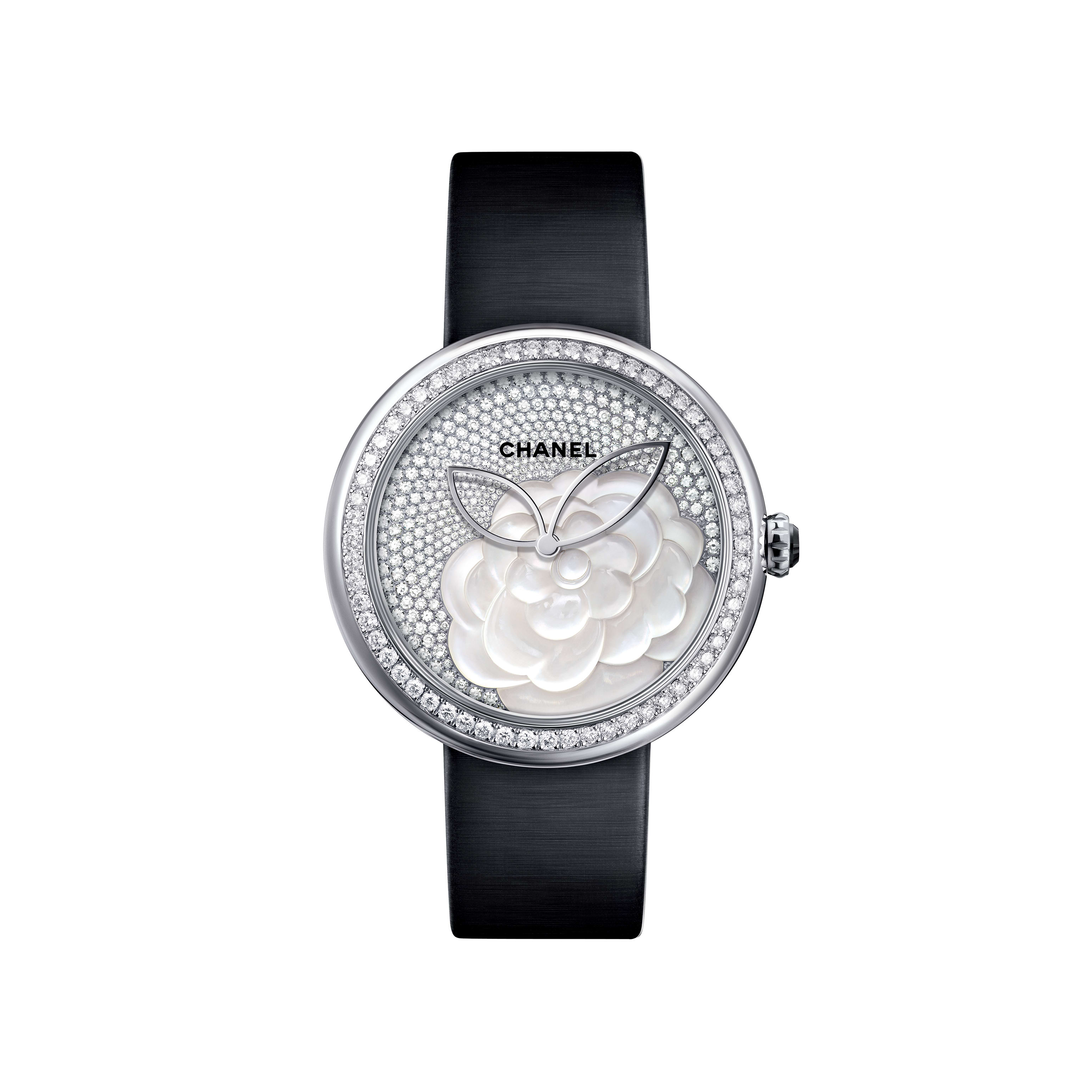 Mademoiselle Privé - Camellia in mother-of-pearl marquetry, dial set with diamonds - CHANEL - Default view - see standard sized version