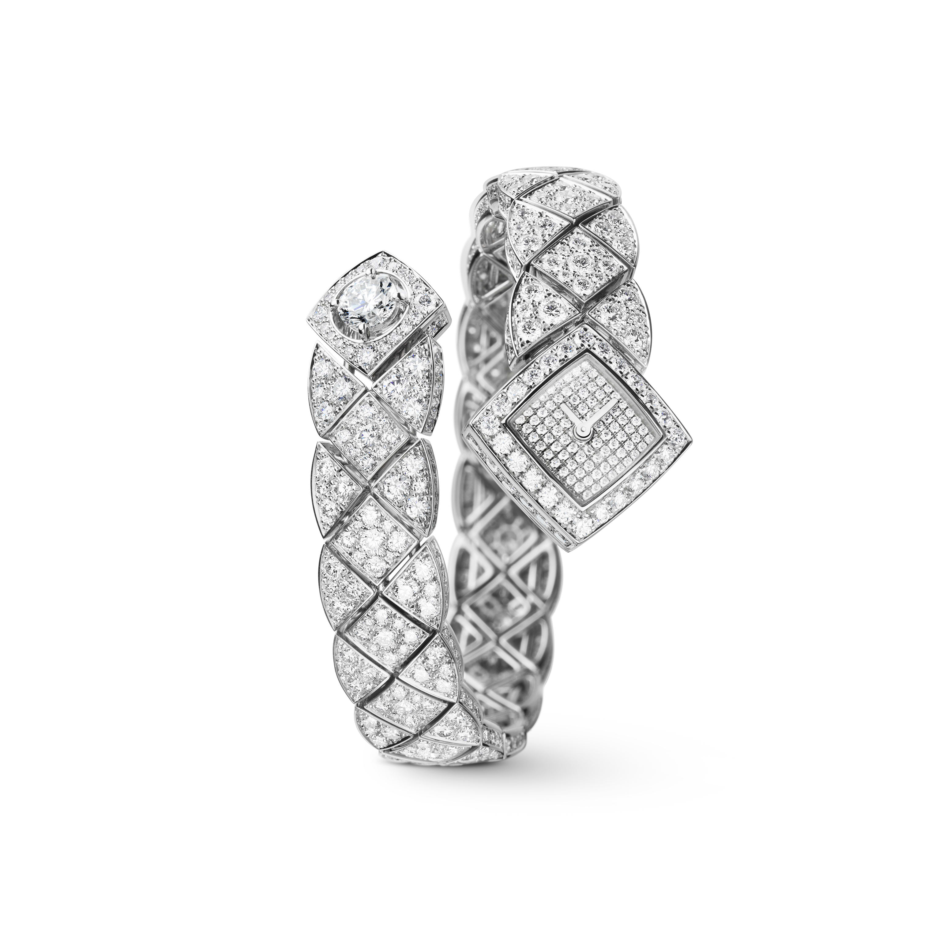 Matelassée Jewellery Watch - Matelassée motif in 18K white gold, diamonds and central diamond - CHANEL - Default view - see standard sized version