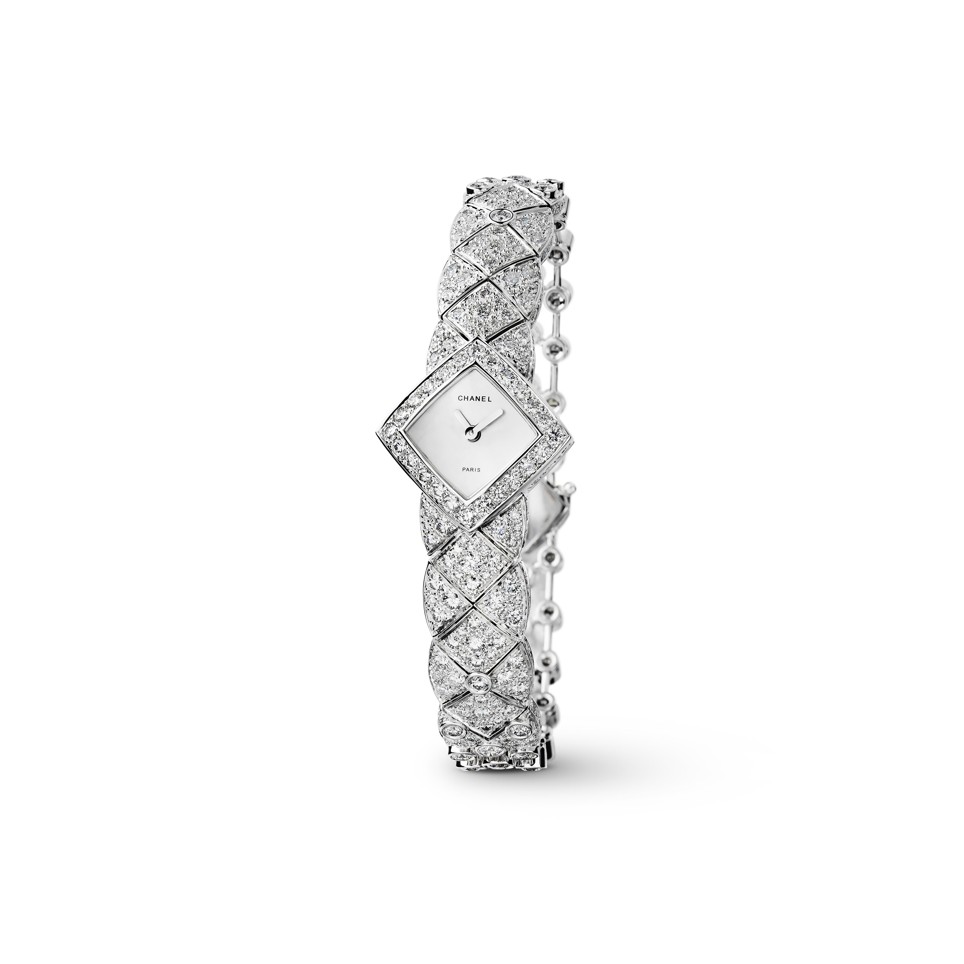 Matelassée Jewellery Watch - Matelassée motif in 18K white gold and diamonds - CHANEL - Default view - see standard sized version