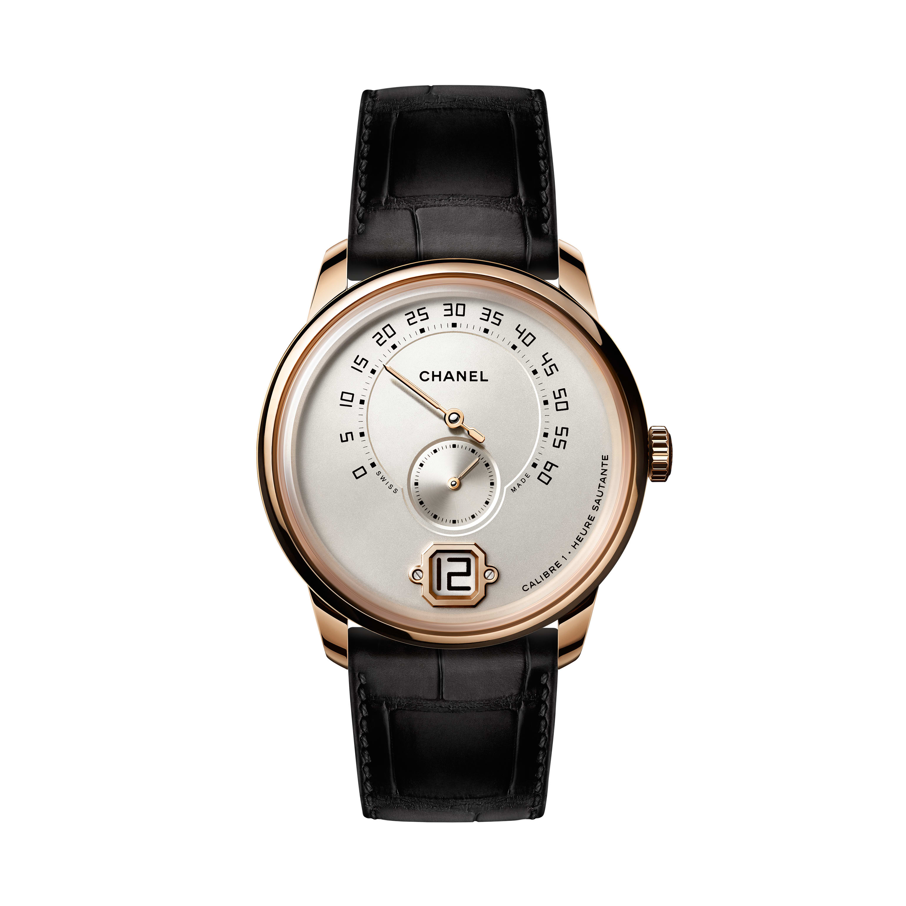 Monsieur Watch - BEIGE GOLD, ivory dial with jumping hour, retrograde minute indication at 240° and small second counter - CHANEL - Default view - see standard sized version