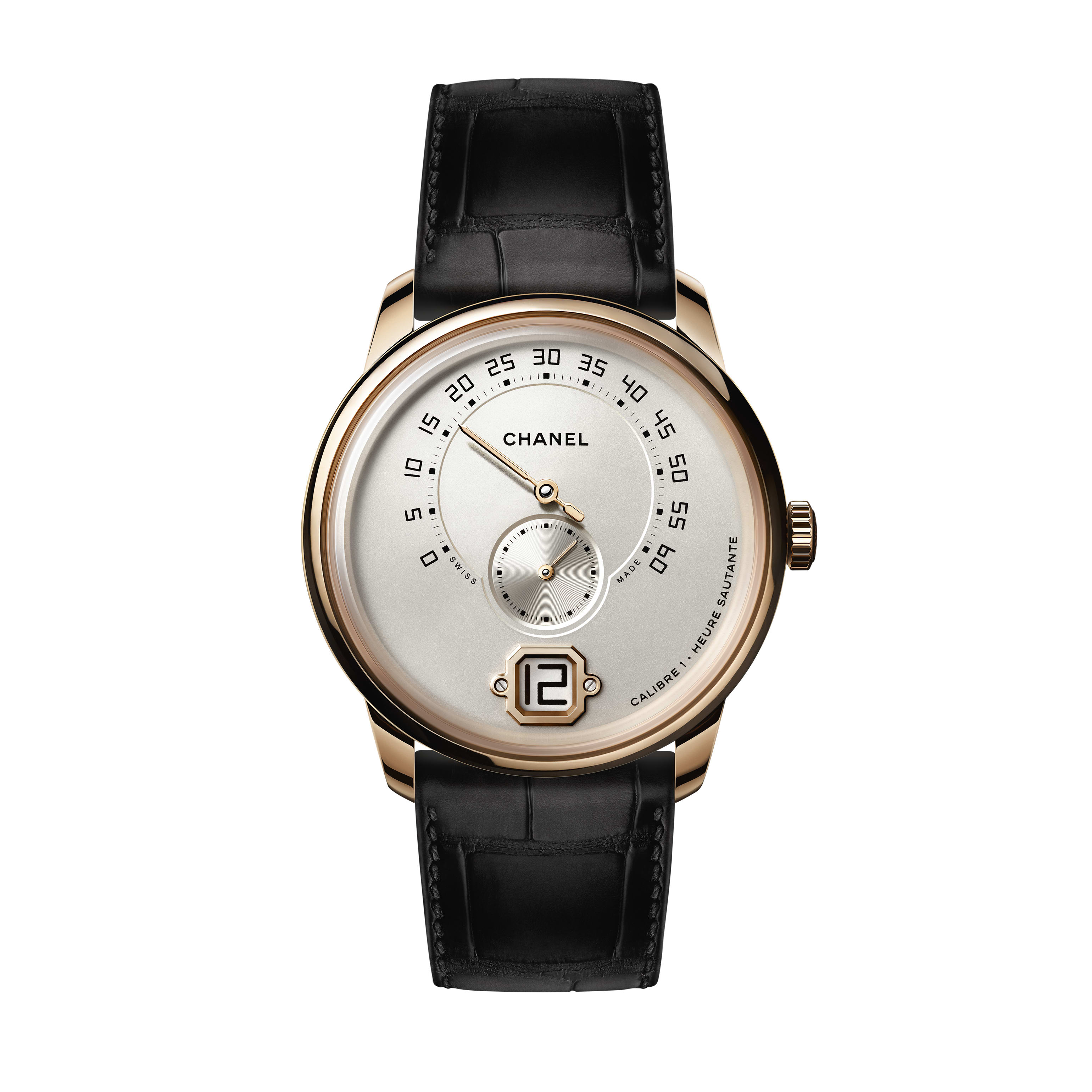 Monsieur Watch - BEIGE GOLD, opaline dial with jumping hour, 240° retrograde minute and small second counter - CHANEL - Default view - see standard sized version