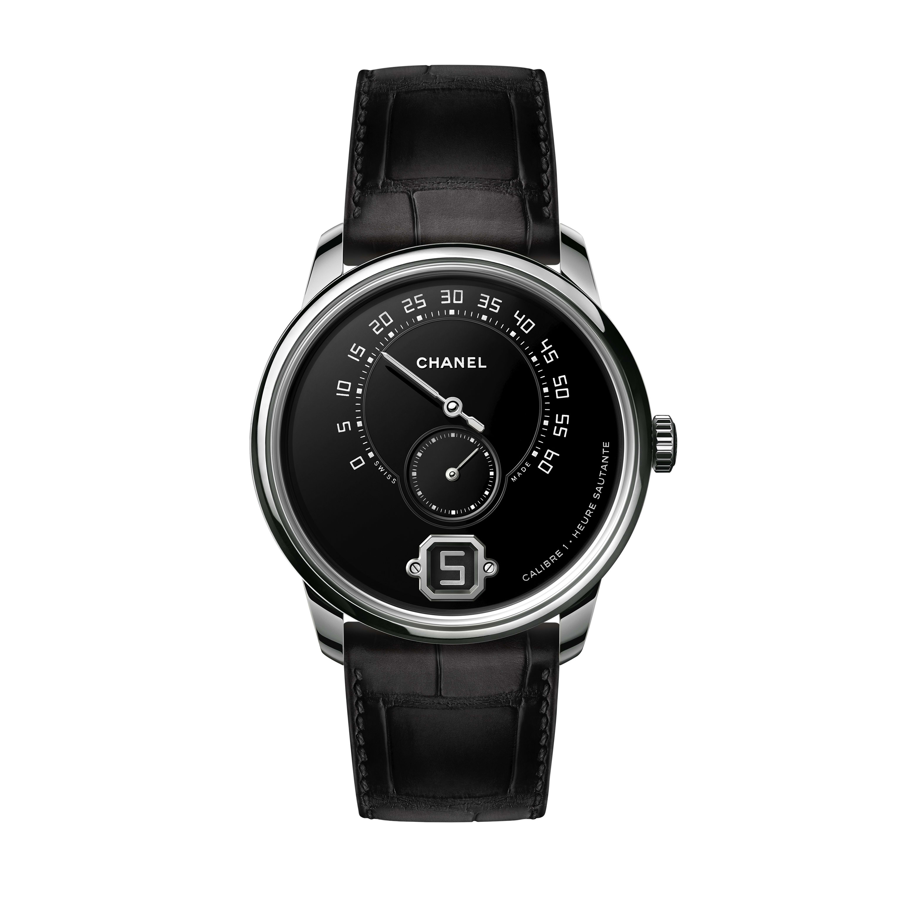 Monsieur Watch - Platinum Grand Feu enamel dial with jumping hour, 240° retrograde minute and small second counter - CHANEL - Default view - see standard sized version