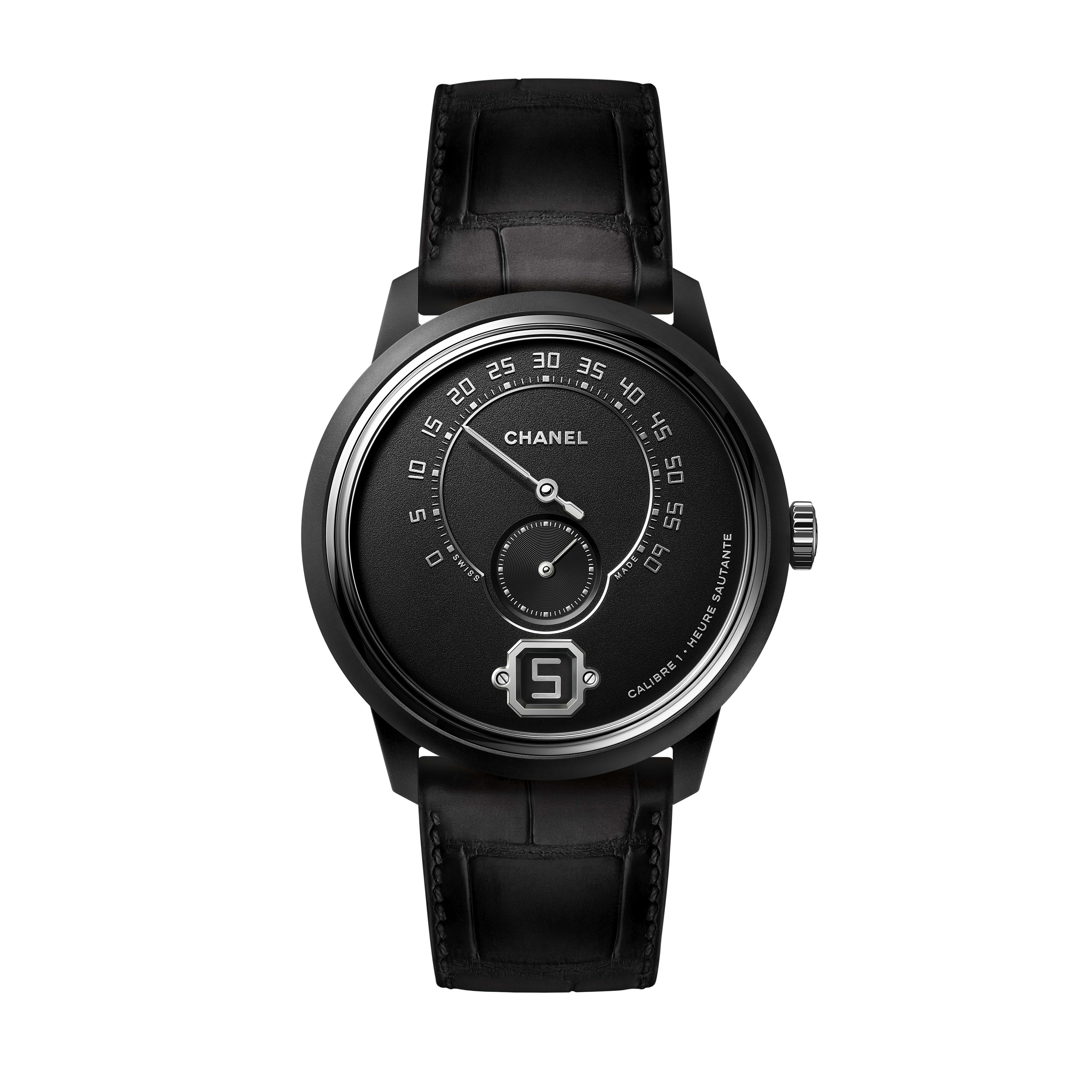 Monsieur Watch - Matt black highly resistant ceramic and steel, matt black dial with jumping hour, 240° retrograde minute and small second counter - CHANEL - Default view - see standard sized version