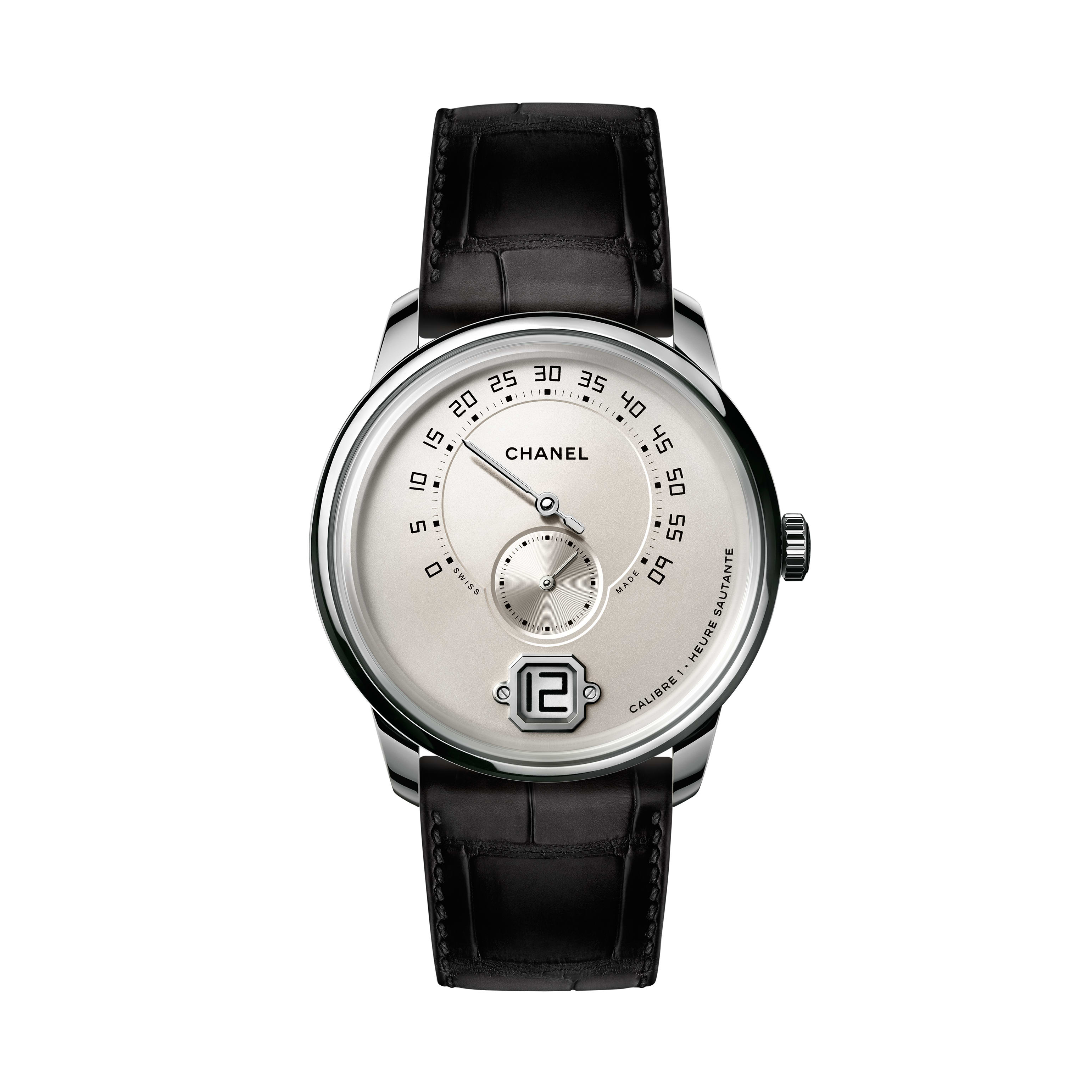 Monsieur Watch - White gold, ivory dial with jumping hour, retrograde minute indication at 240° and small second counter - CHANEL - Default view - see standard sized version