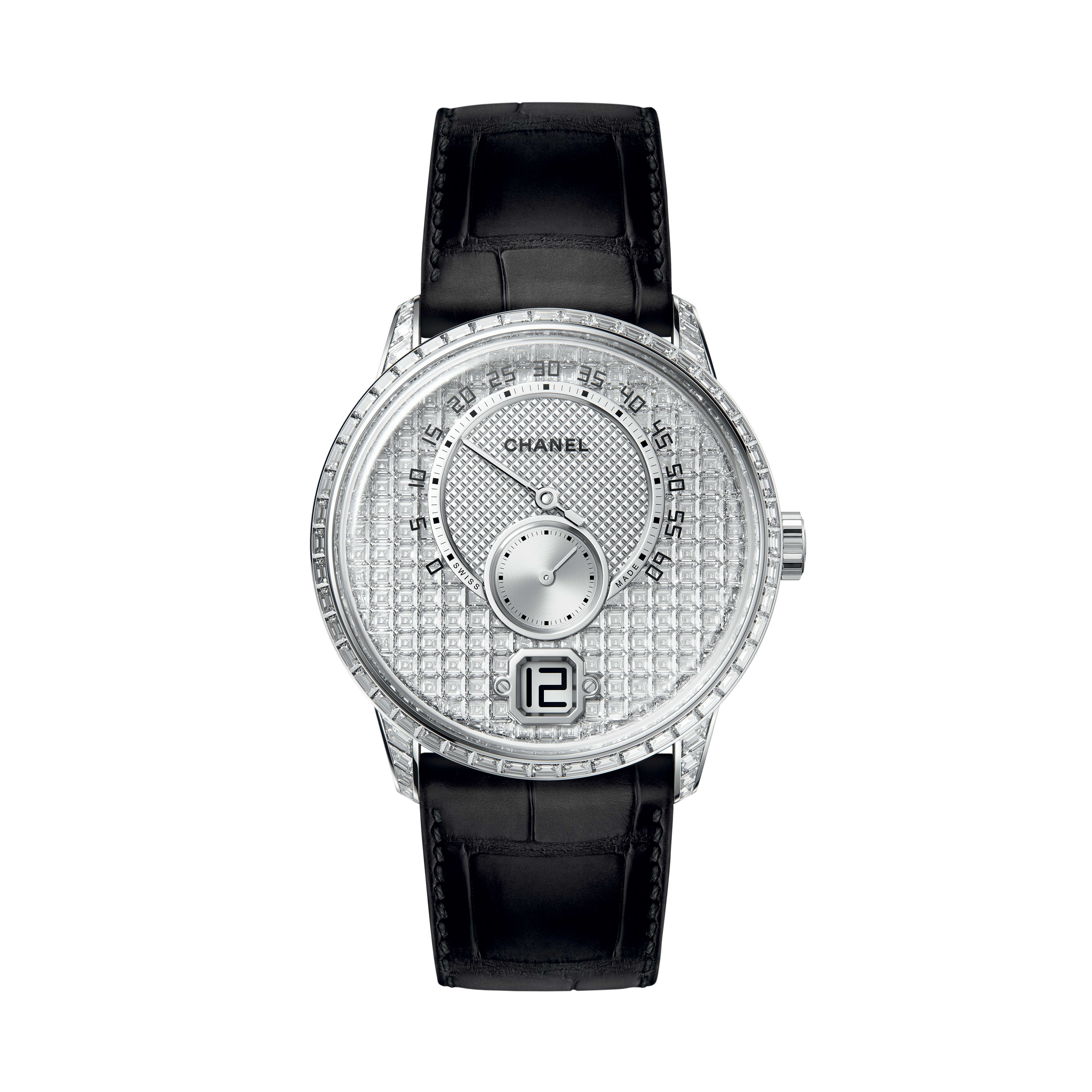 Monsieur Watch - 18K white gold case and dial set with baguette-cut diamonds, jumping hour and 240° retrograde minute - CHANEL - Default view - see standard sized version